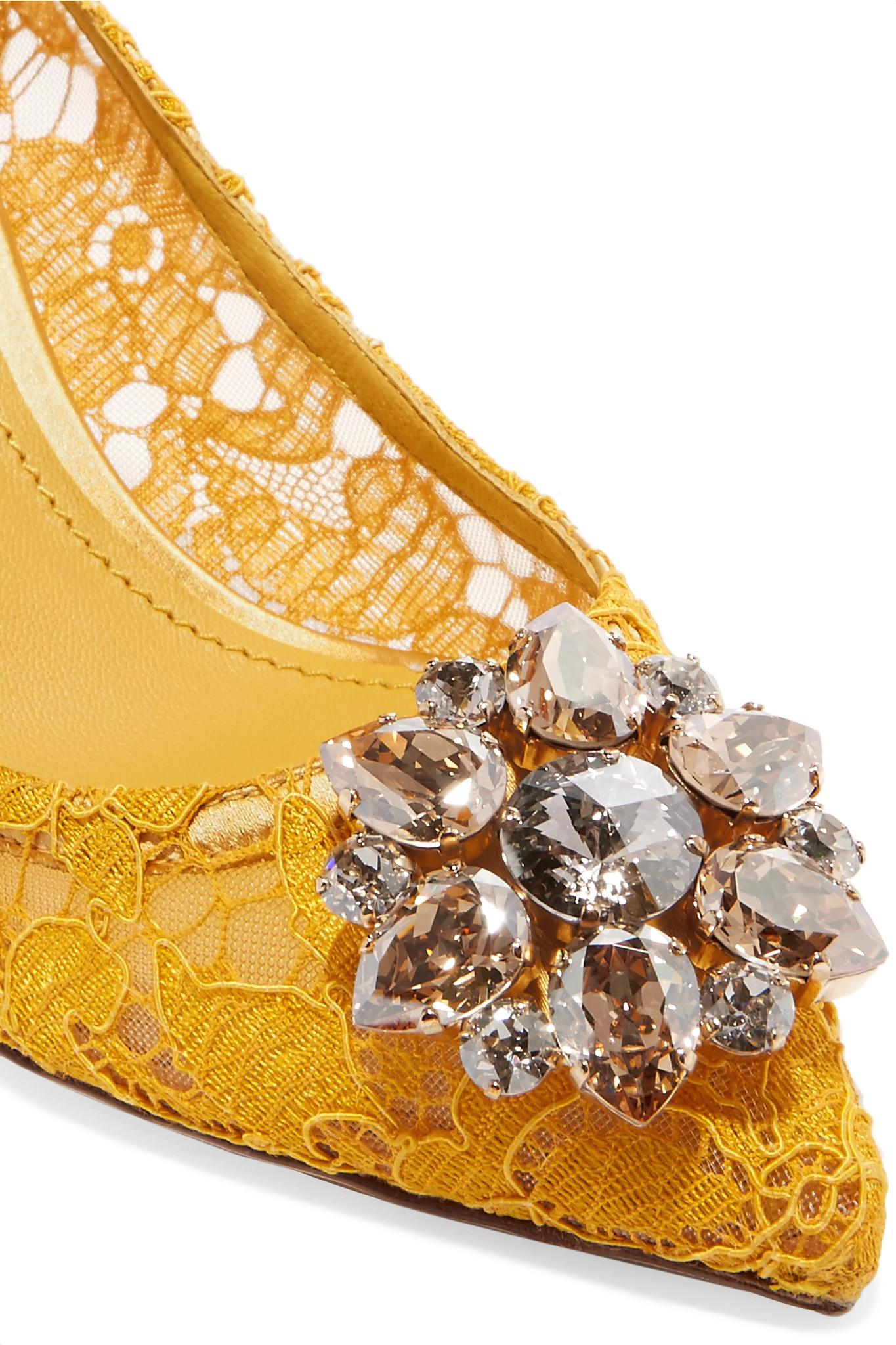 8017915bdd Dolce & Gabbana Crystal-embellished Corded Lace Pumps in Yellow - Lyst