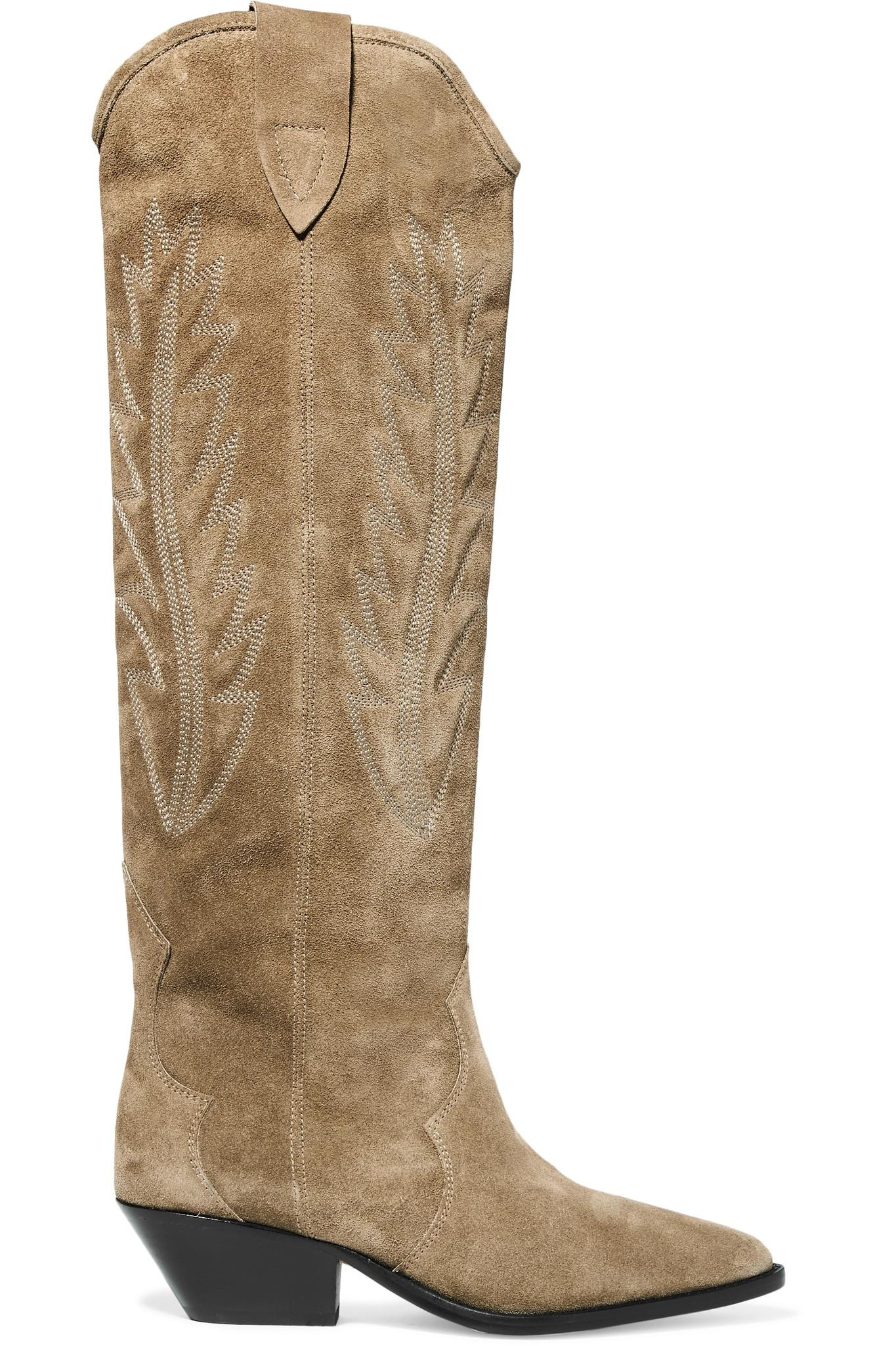 83d63d365a0 Lyst - Isabel Marant Denzy Embroidered Suede Knee Boots in Natural