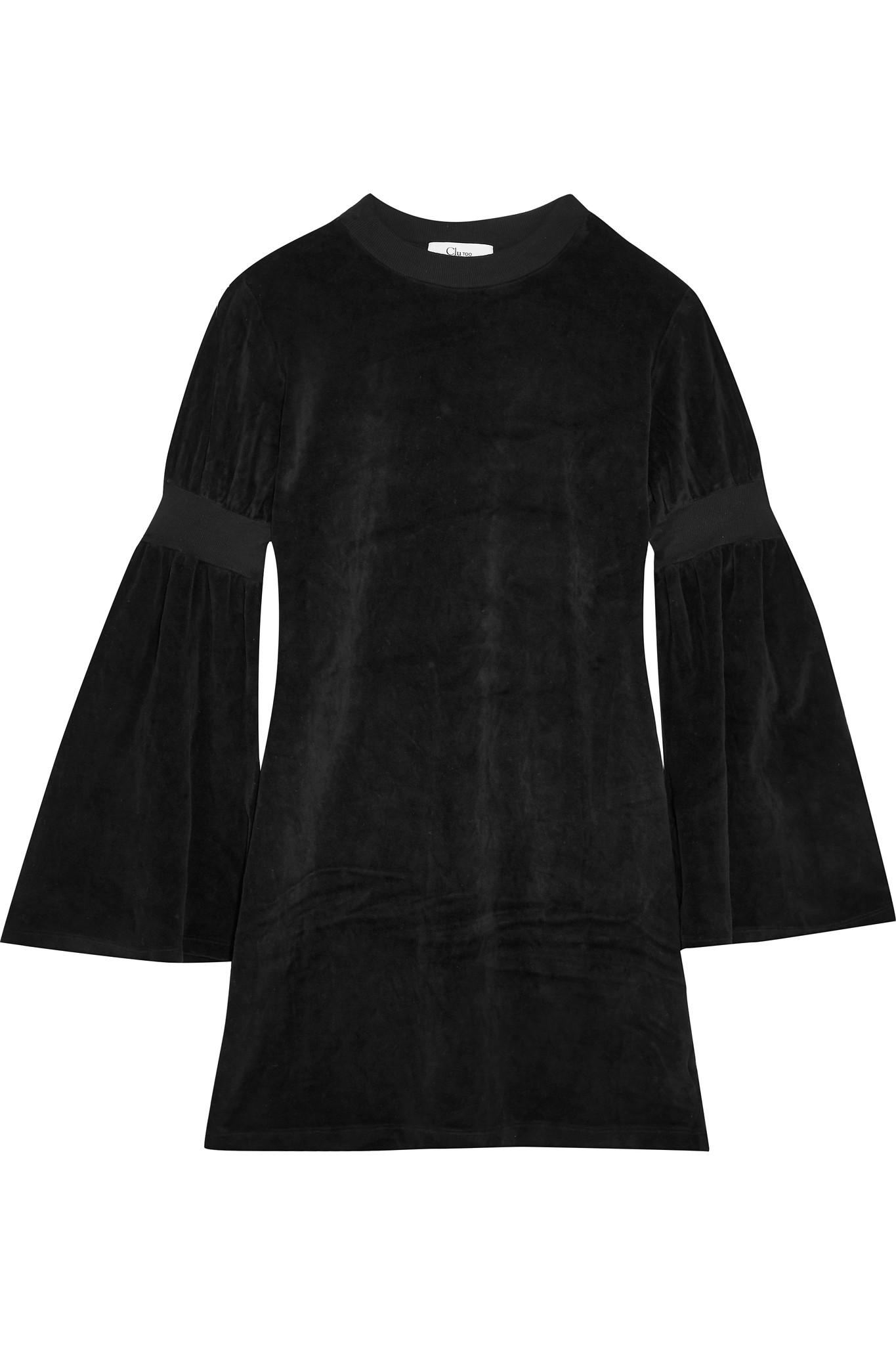 Bell-sleeve Velour Mini Dress - Black Clu DaOArzc2kh