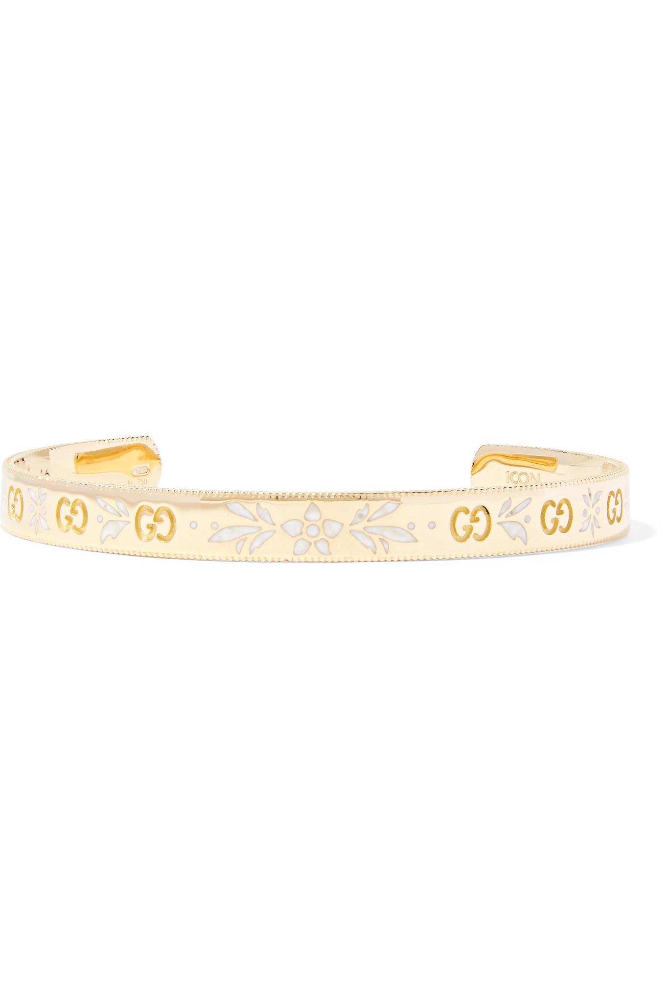 eac9b6084 Gucci Icon 18-karat Gold And Enamel Cuff in Metallic - Lyst