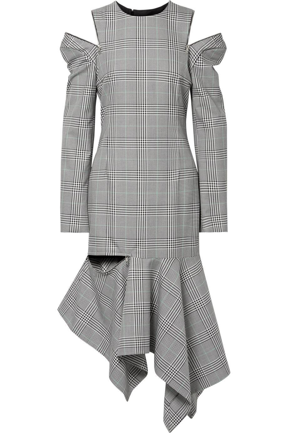 Cutout Striped Prince Of Wales Checked Woven Midi Dress - Black Monse rsjBtT2x