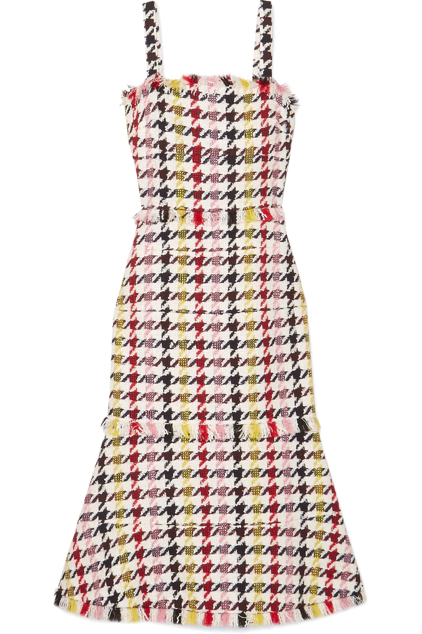 Free Shipping Really Fringed Houndstooth Wool-blend Tweed Dress - Red Oscar De La Renta Eastbay Supply All Size Pay With Visa Cheap Price 2g5fqRkb