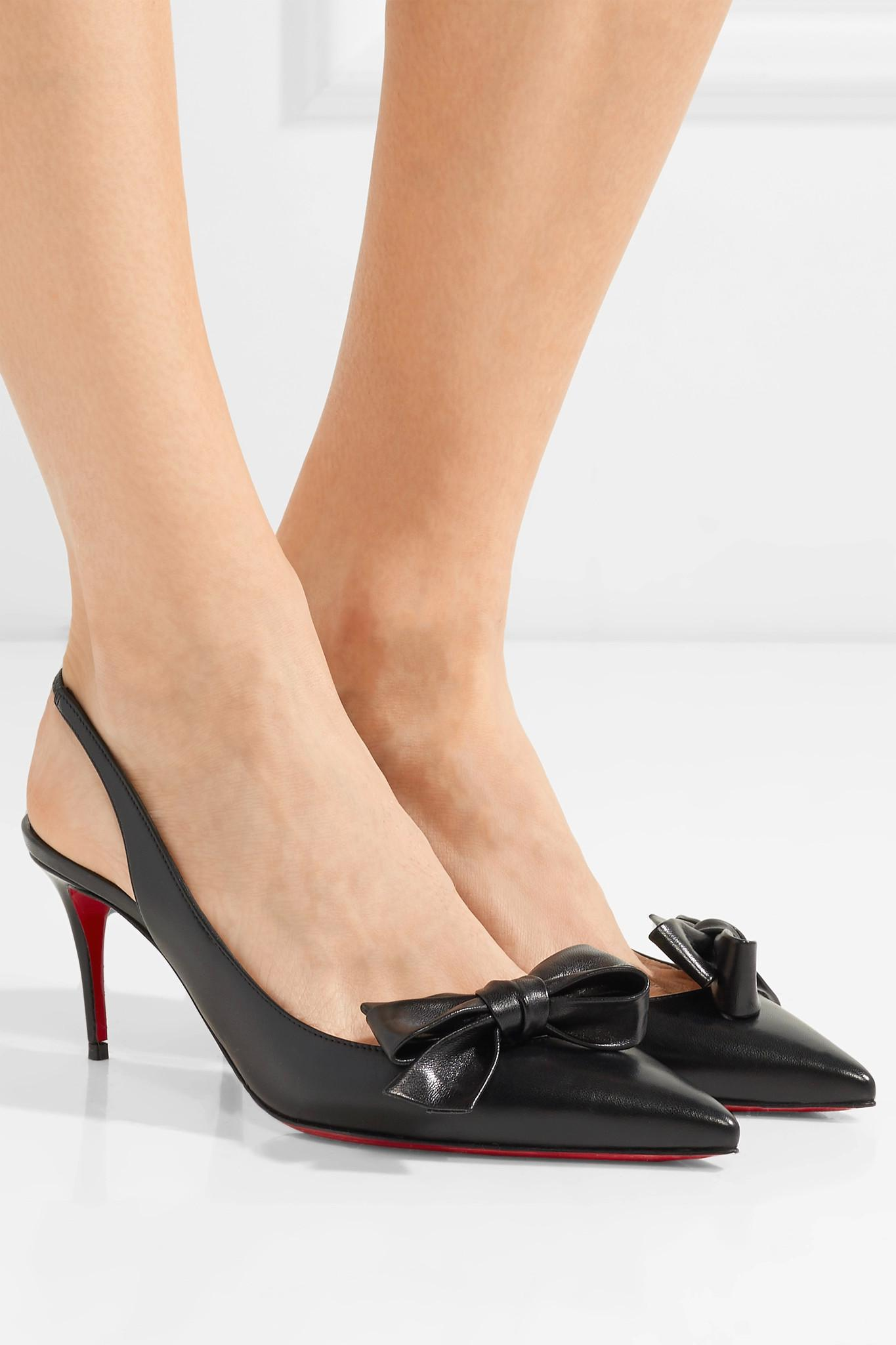 f853070d48b Christian Louboutin - Black Yasiling 70 Bow-embellished Leather Slingback  Pumps - Lyst. View fullscreen