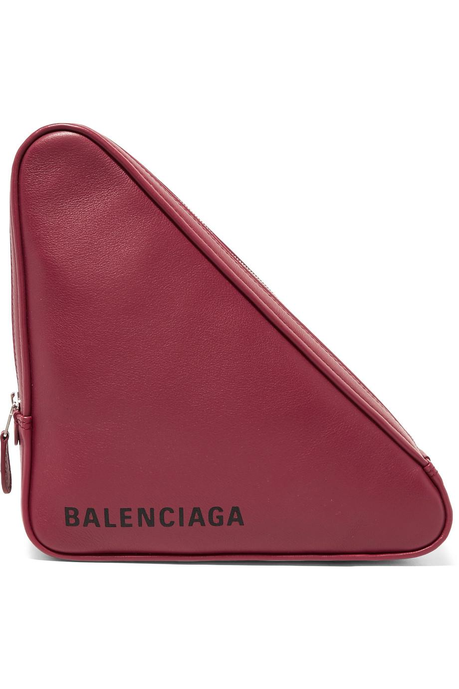 Triangle Printed Leather Pouch - Burgundy Balenciaga