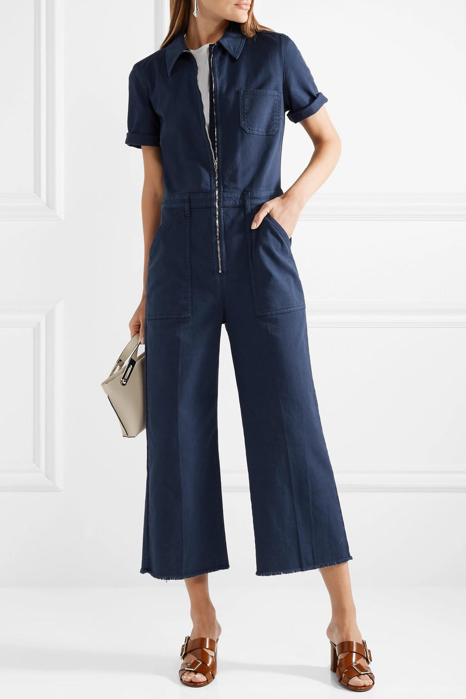 979827dbd52 Lyst - Stella McCartney Cropped Cotton-blend Twill Jumpsuit in Blue