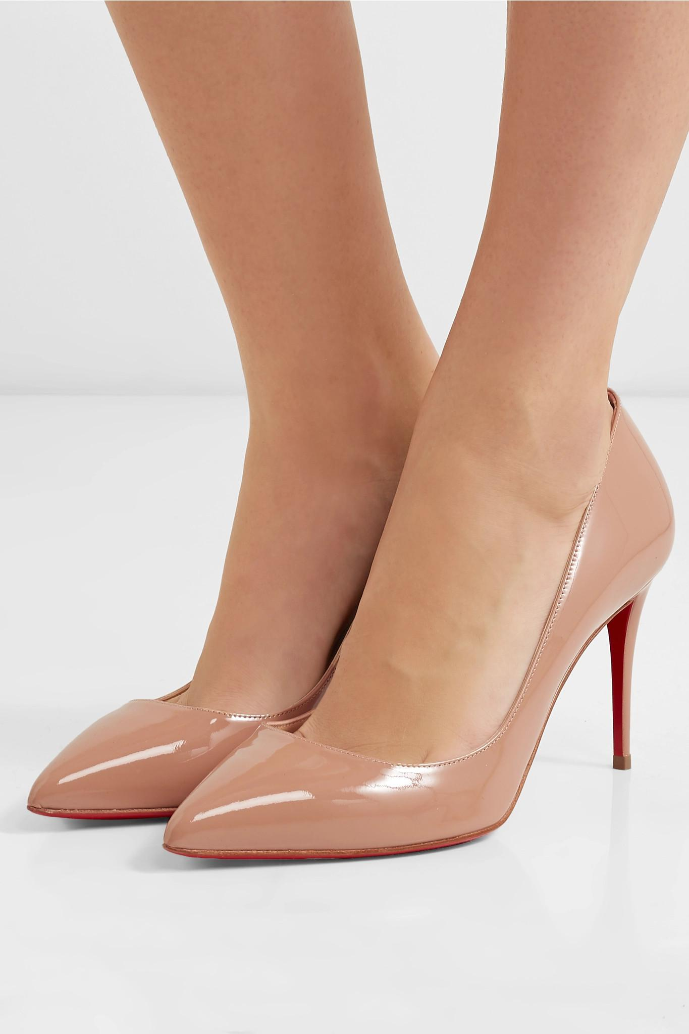 25c093dc5e93 Lyst - Christian Louboutin Pigalle 85 Patent-leather Pumps in Natural