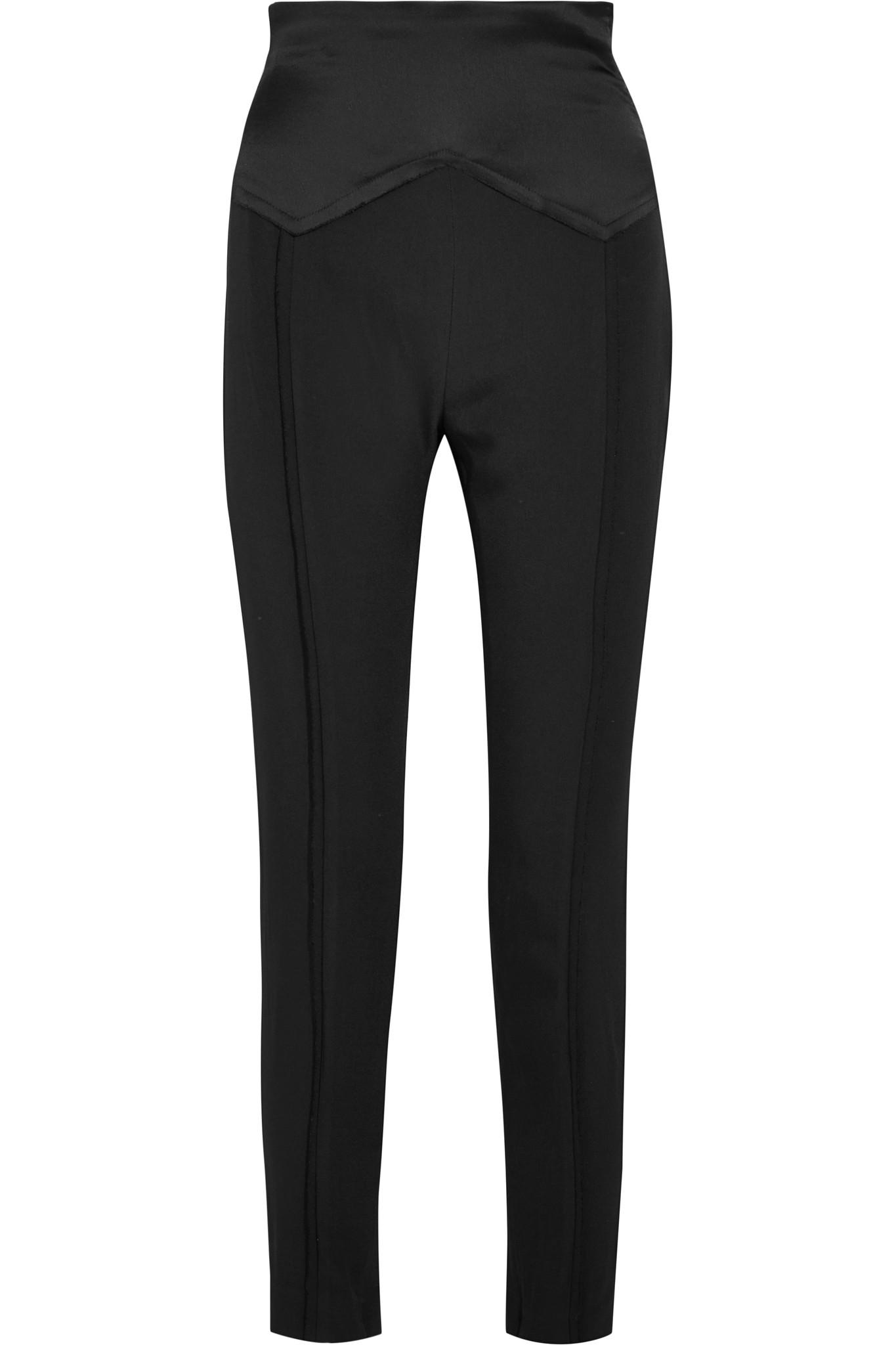 Satin-paneled Crepe Skinny Pants - Black Carmen March