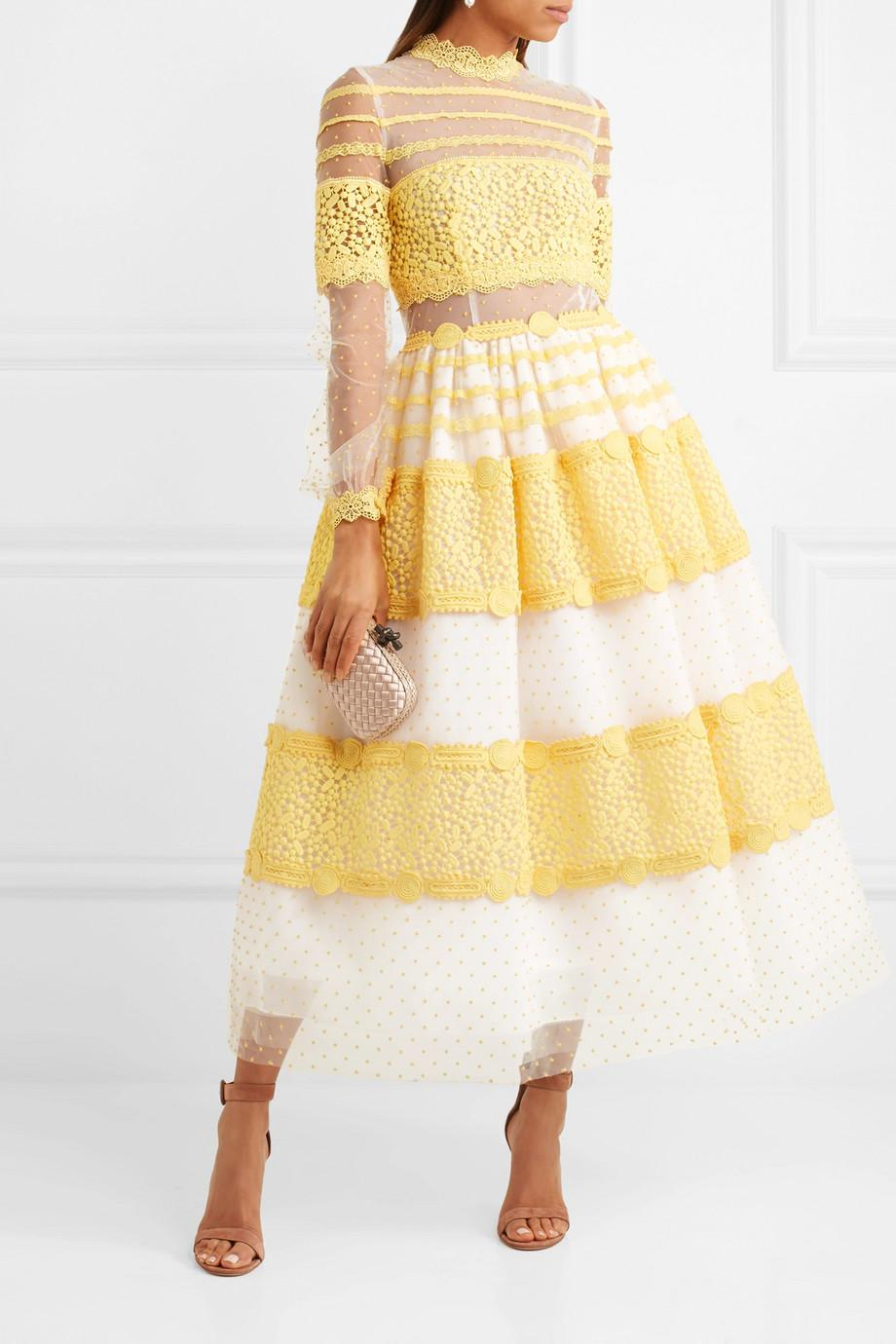 Lace-trimmed Swiss-dot Tulle Midi Dress - Yellow Costarellos hO8WROWdQy