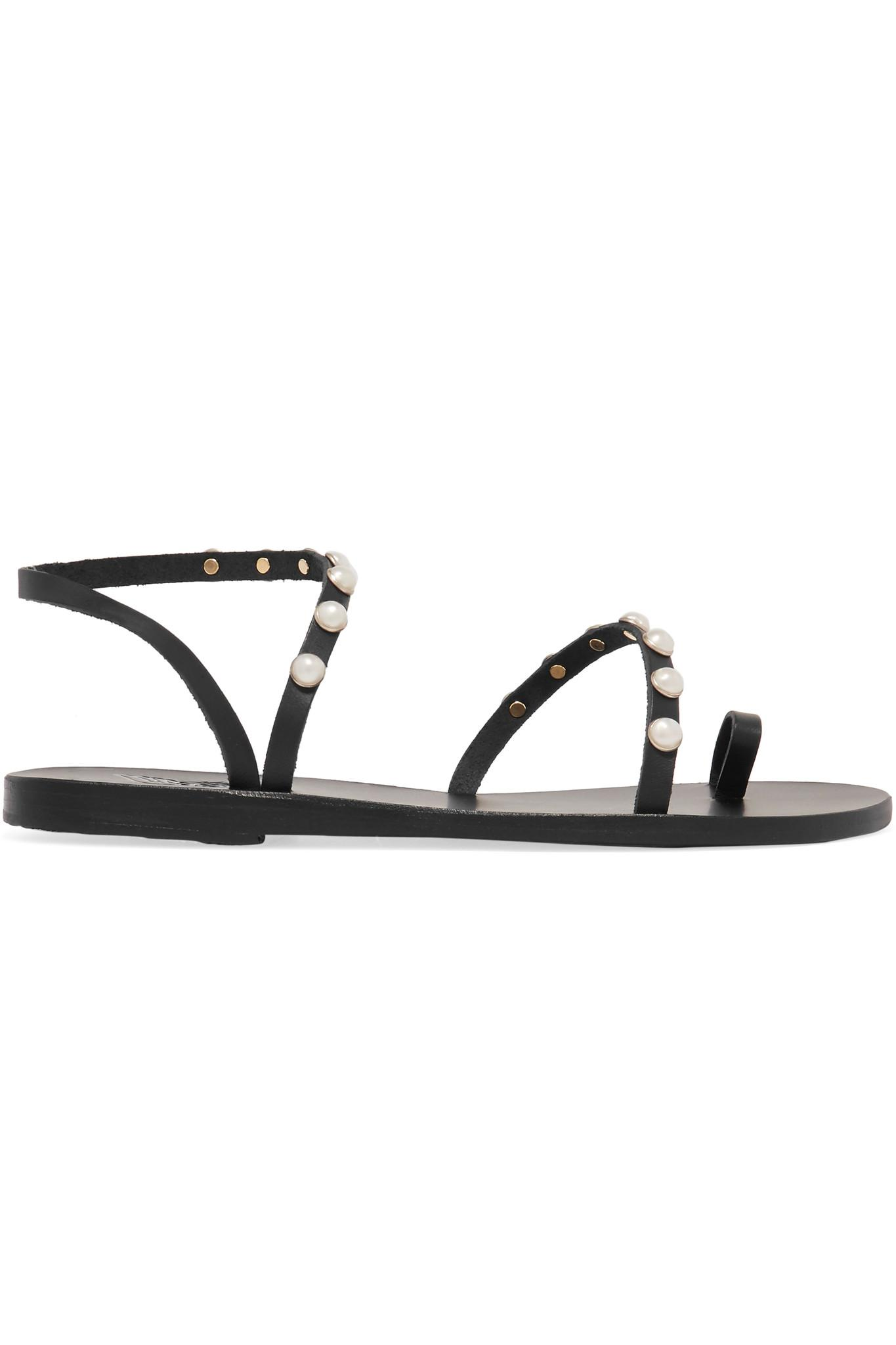 Ancient Greek Sandals Apli Eleftheria Black Leather Sandal With Pearls Latest Discount Find Great Online Free Shipping For Nice Footlocker Pictures Online Outlet Clearance XfoJmco