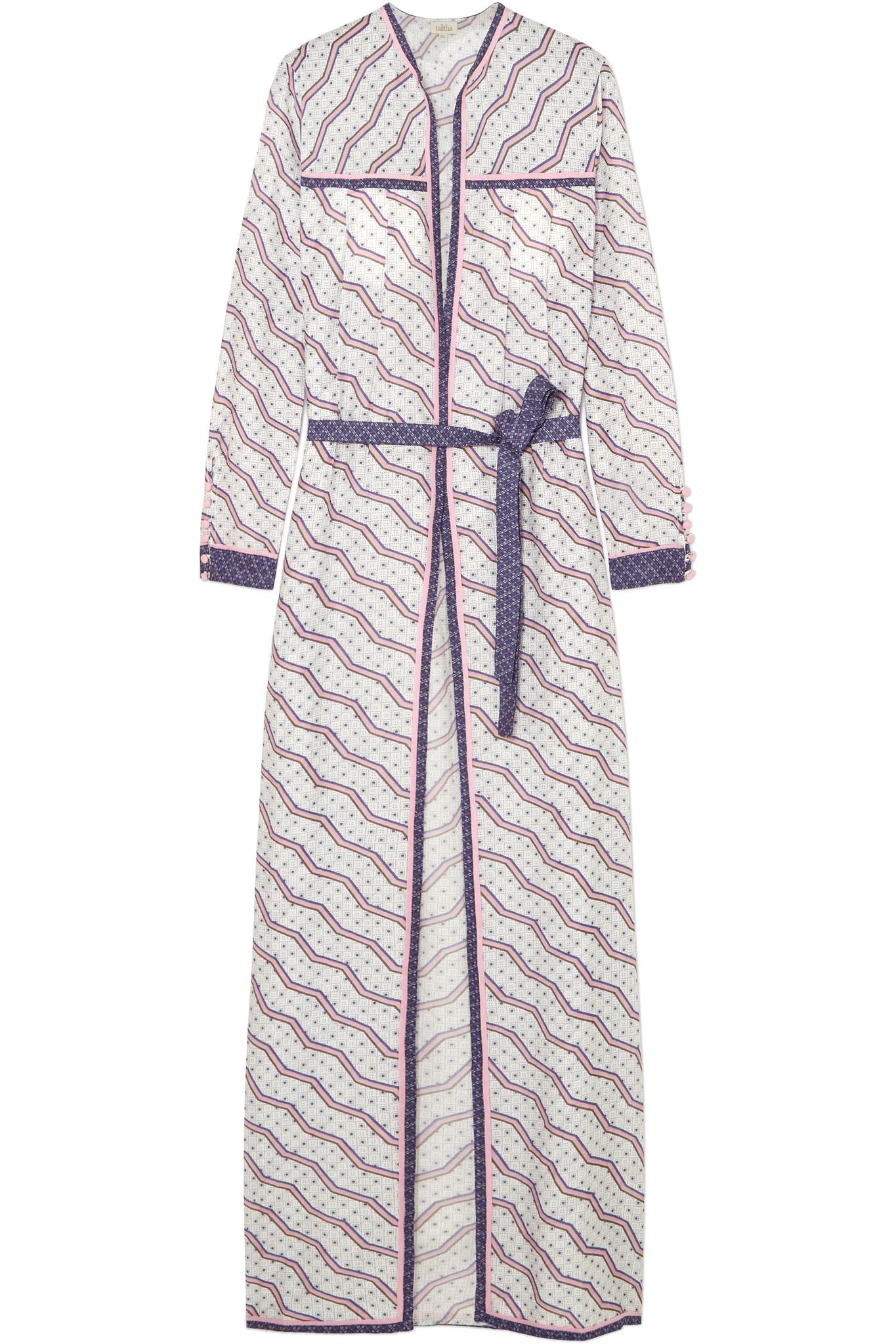 0eaee943d3 Lyst - Talitha Printed Silk And Cotton-blend Robe in Purple