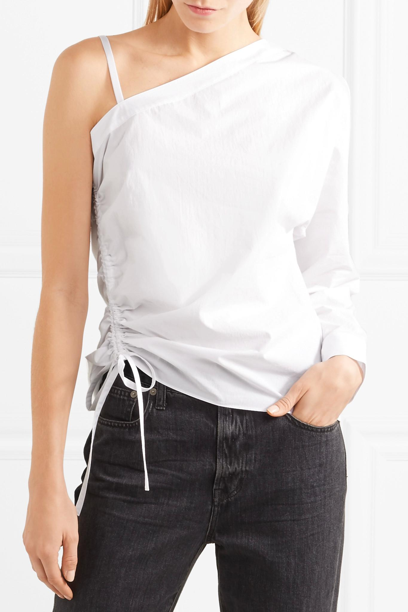 One-shoulder Cotton-poplin Top - White Alexander Wang Cheap Real Eastbay Sale Low Price Extremely Cheap Price Outlet Pick A Best EGPQMT