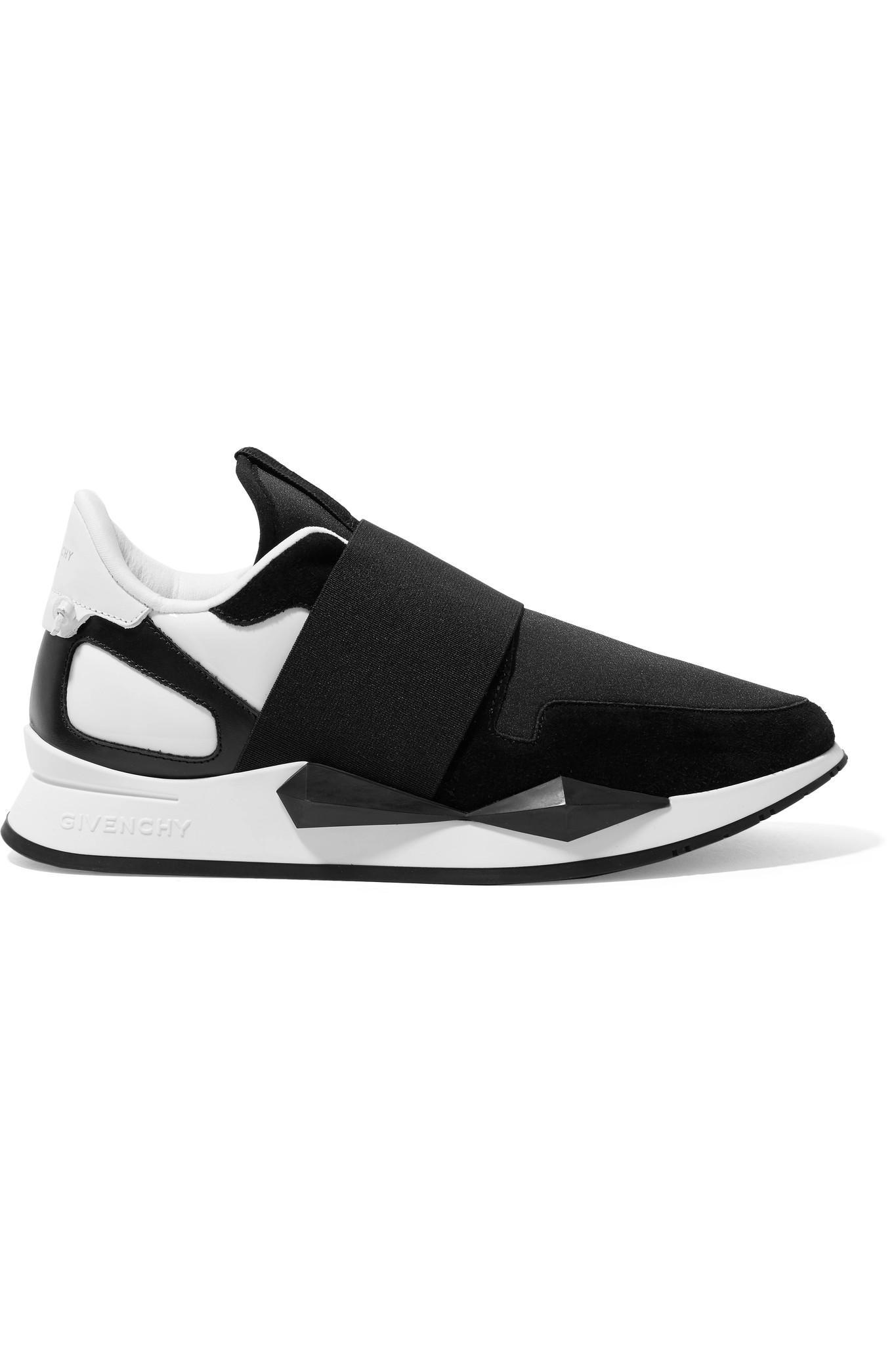 Coureur En Cuir Élastique Et Chaussures De Sport En Néoprène Suède Lambrissé - Noir Givenchy SOZtx