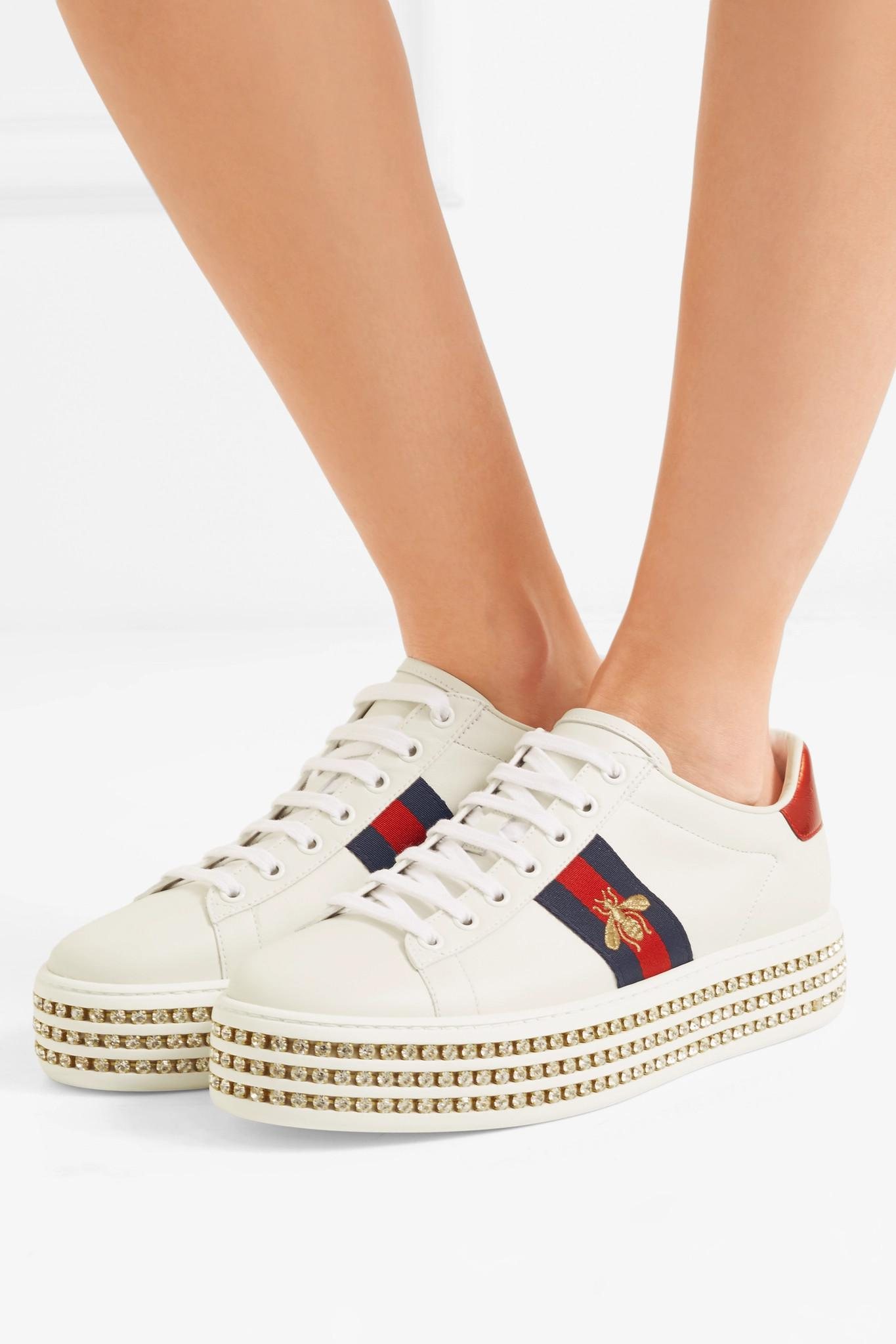 372fdb4956a Gucci - White Ace Sneaker With Crystals - Lyst. View fullscreen