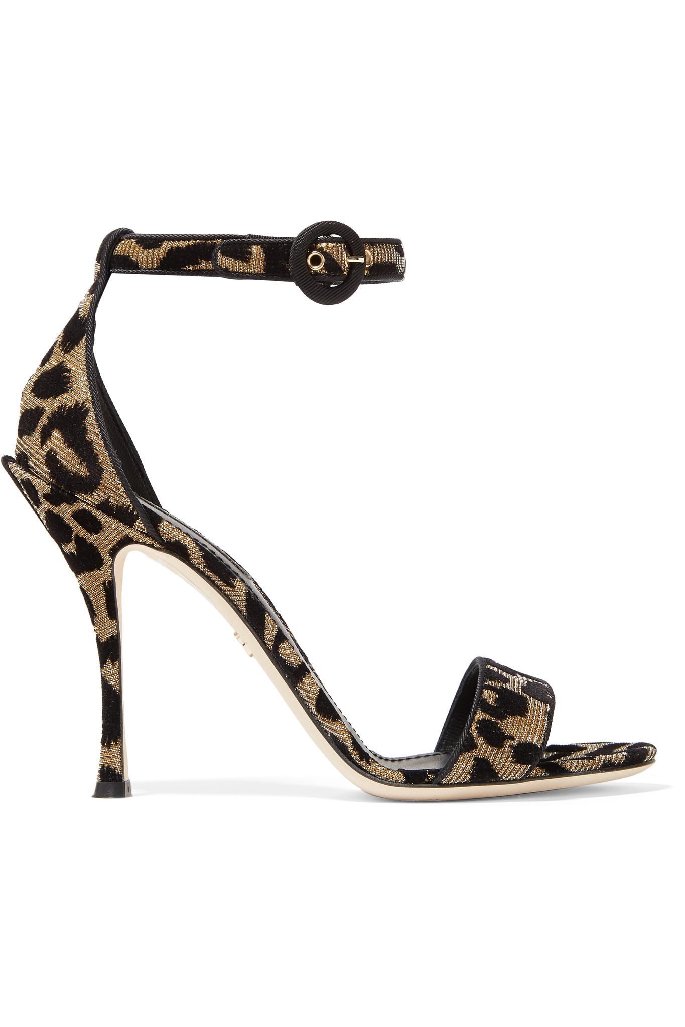 Flocked Metallic Canvas Platform Sandals - Leopard print Dolce & Gabbana Clearance Choice Cheap Online Store Explore For Sale Get iofsdlm