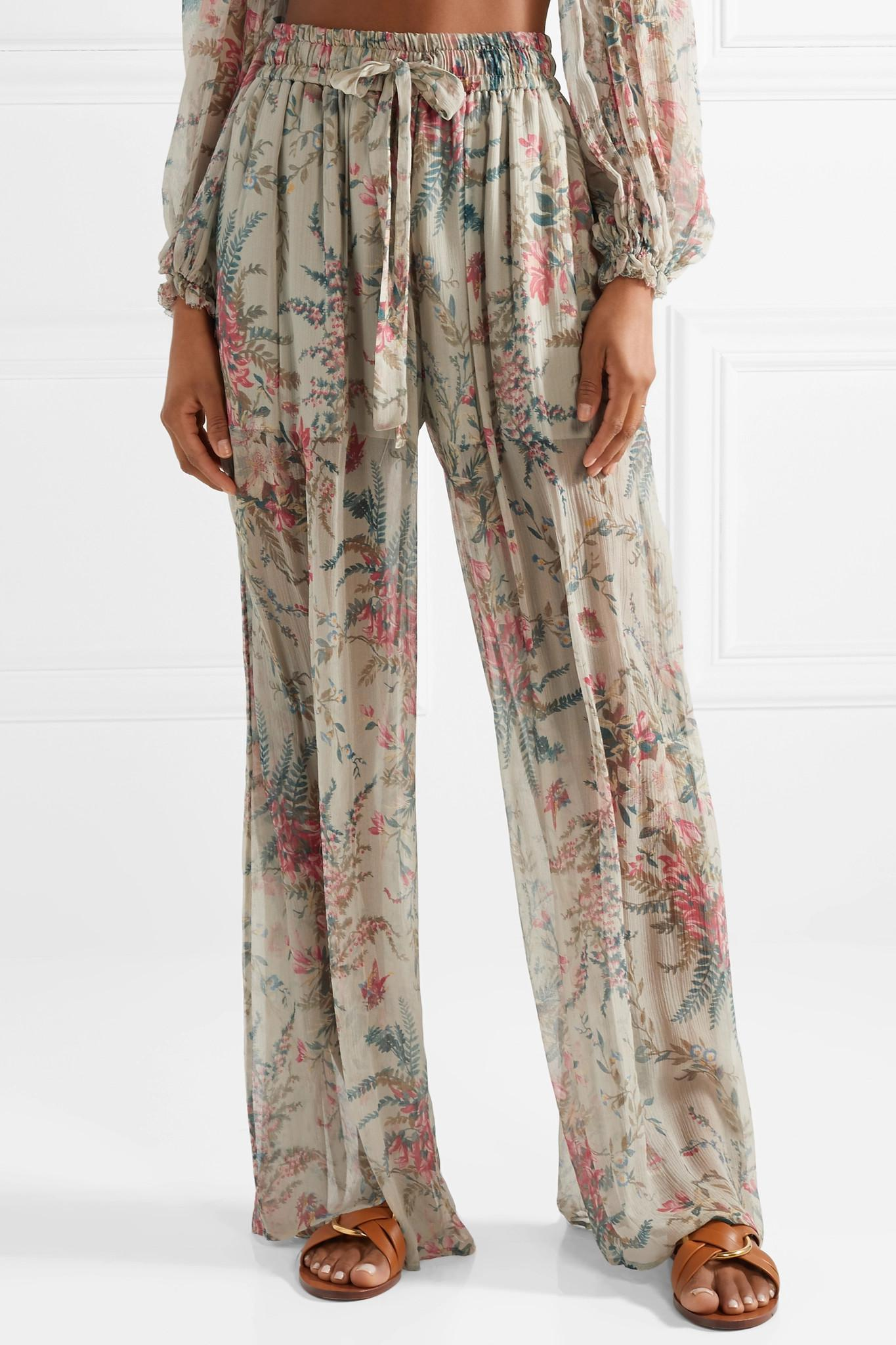 Bayou Shirred Floral-print Silk-crepon Pants - Light gray Zimmermann 0Wc4PSyOC
