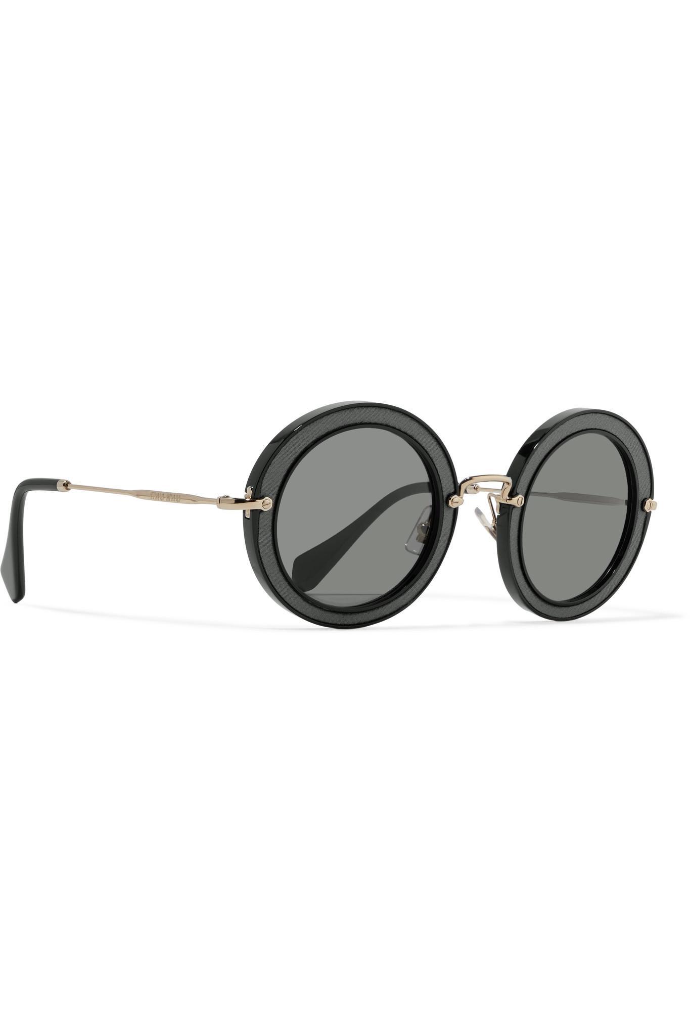 d4e7cb338af1 Miu Miu Round-frame Acetate, Twill And Gold-tone Sunglasses in Black ...