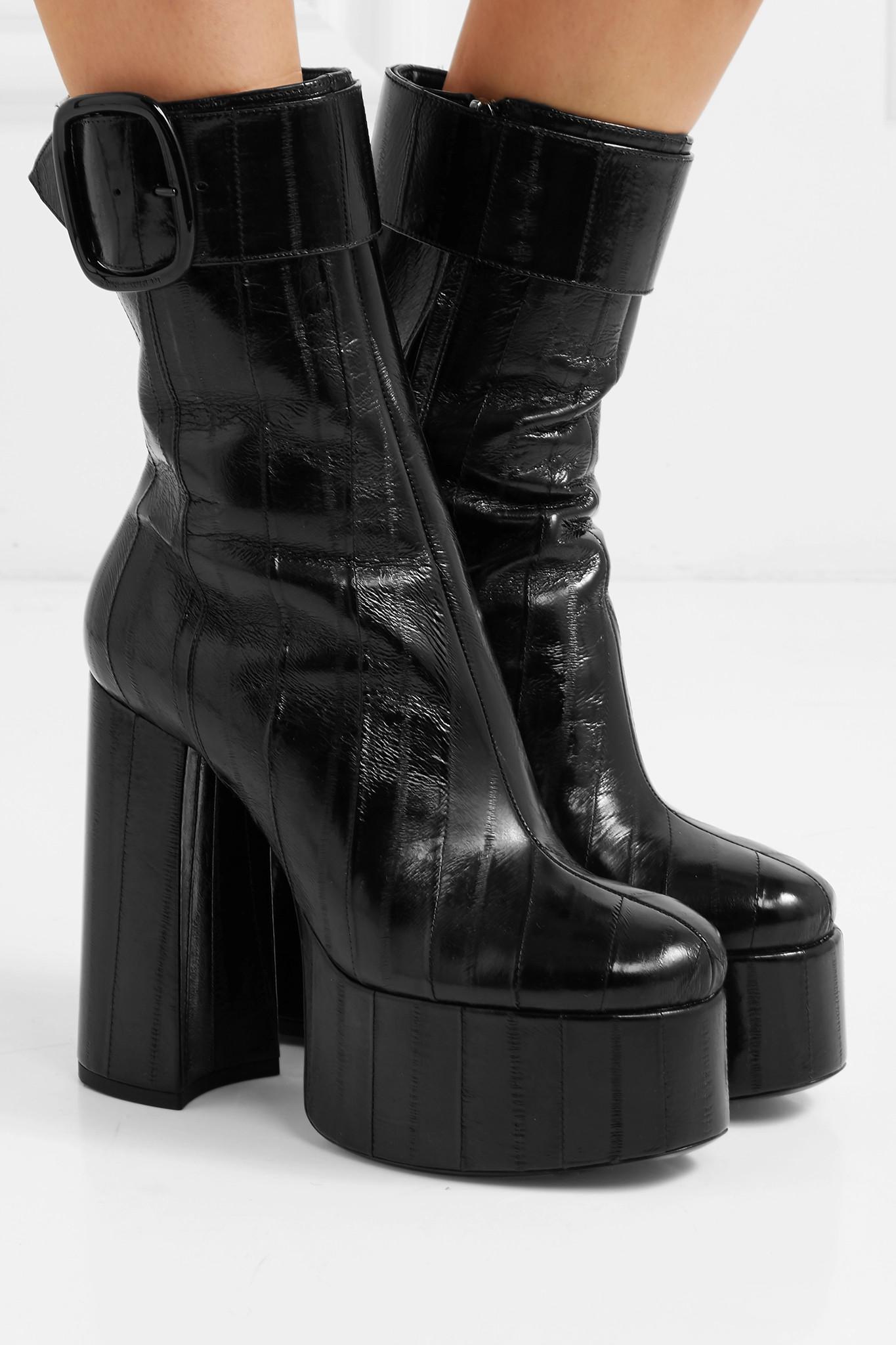 e8eb2d786b31 Saint Laurent - Black Billy Eel Platform Ankle Boots - Lyst. View fullscreen