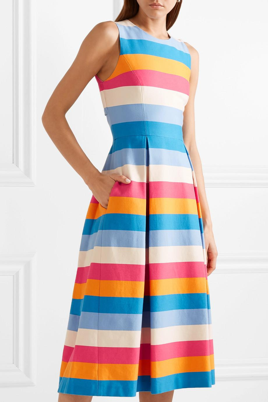 Tie-back Striped Cotton And Silk-blend Midi Dress - Blue Carolina Herrera 2018 Unisex dL0Bzy