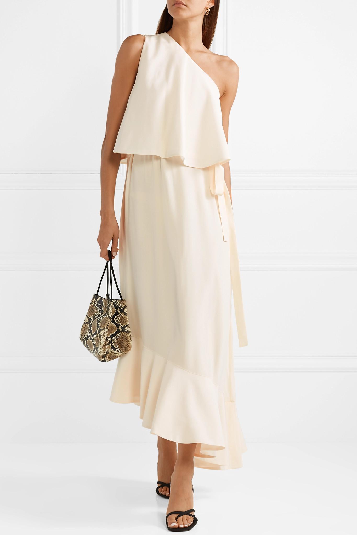 49248597a Stella McCartney - Natural Asymmetric One-shoulder Silk Crepe De Chine Midi  Dress - Lyst. View fullscreen