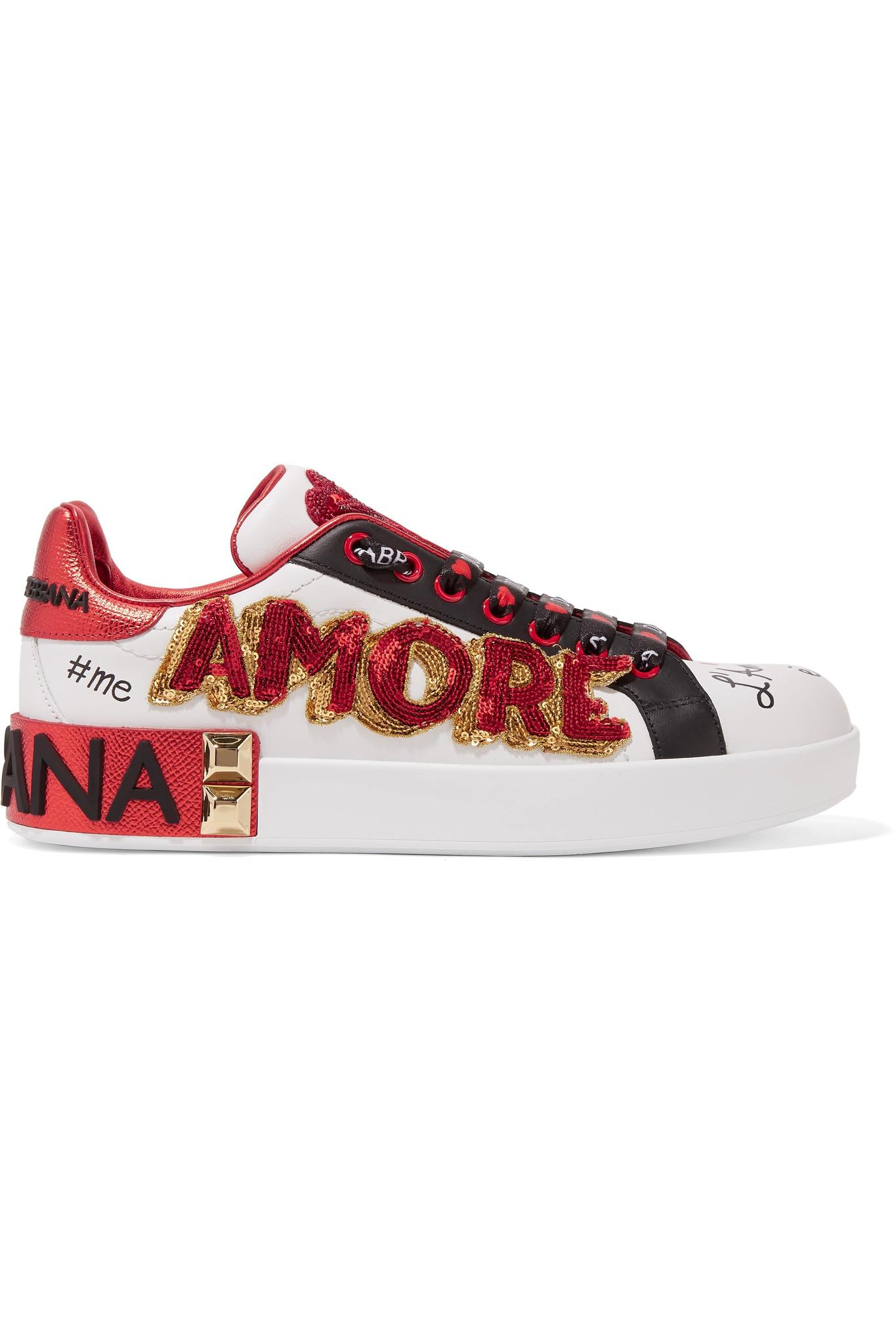64a081eca0b7 Lyst - Dolce   Gabbana Embellished Printed Leather Sneakers in White ...