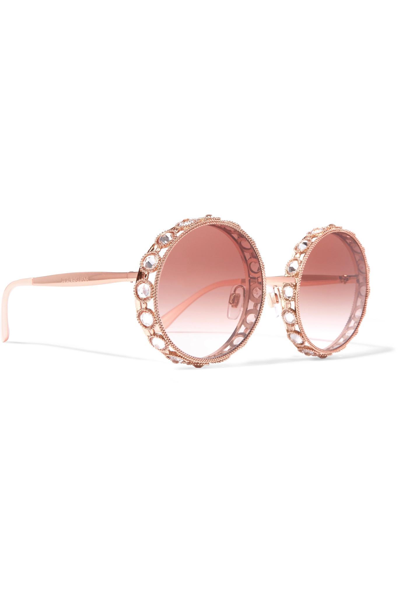 96e8841b53f5 Lyst - Dolce   Gabbana Swarovski Crystal-embellished Round-frame ...