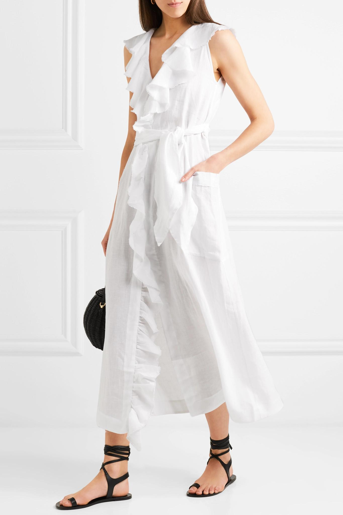 dd4d5b3a31a Three Graces London - White Mable Ruffled Linen Midi Dress - Lyst. View  fullscreen