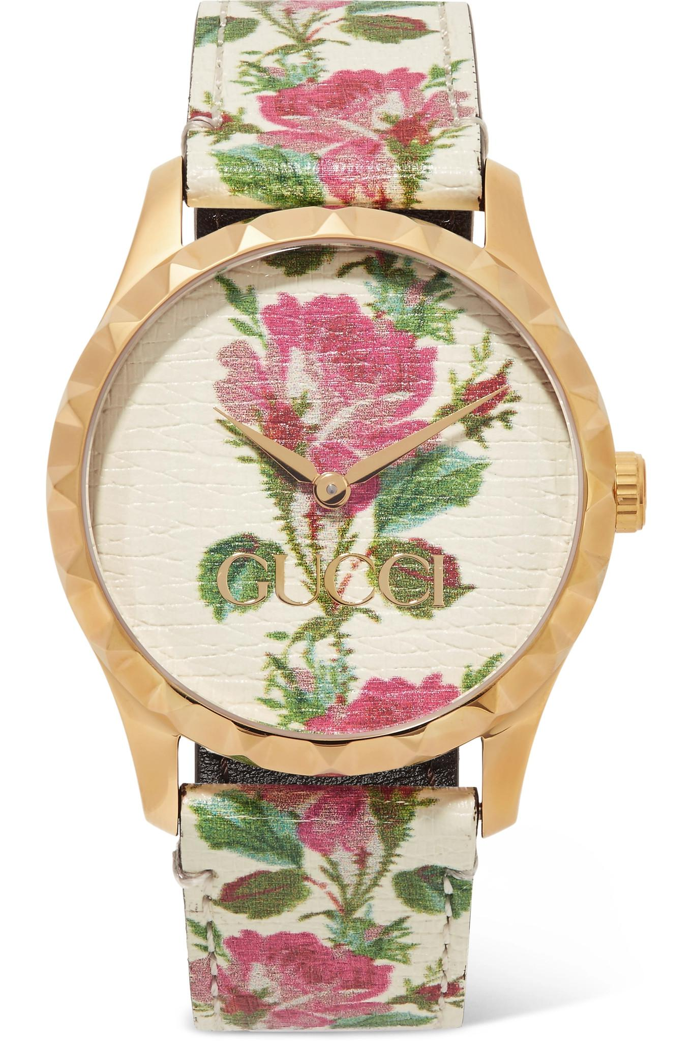 14e4d5b729b Gucci. Women s White G-timeless Floral-print Leather And Gold-tone Watch
