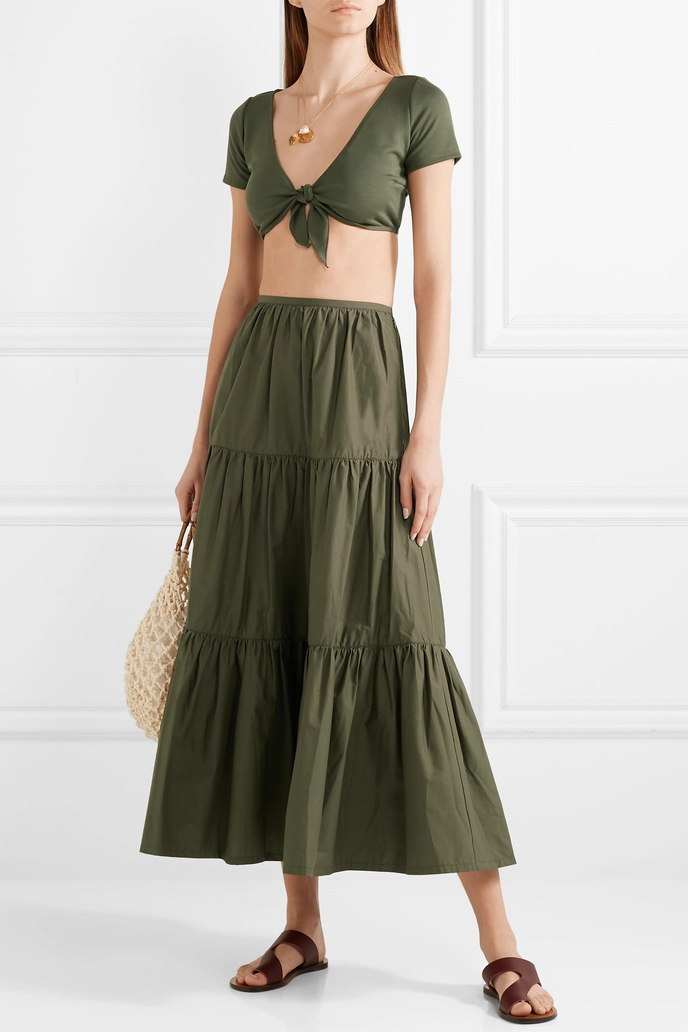 5d85140e5 Solid & Striped Tiered Cotton-poplin Maxi Skirt in Green - Lyst