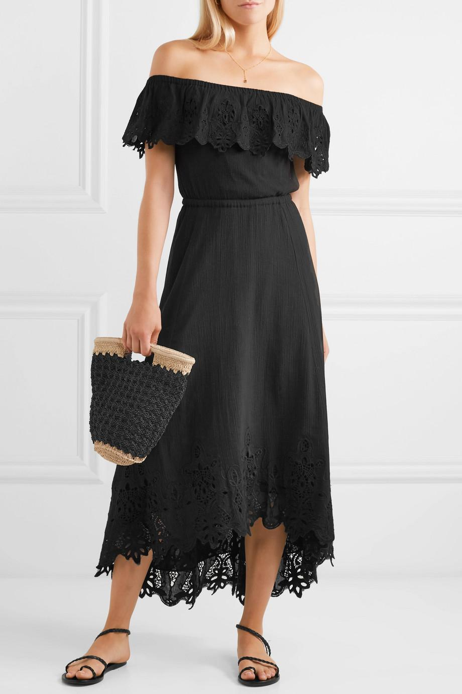 Cheap Sale Online Cheap Eastbay Cleo Off-the-shoulder Broderie Anglaise Crinkled-cotton Dress - Black Rachel Zoe Buy Cheap Explore Buy Cheap Visit 4TVKmg