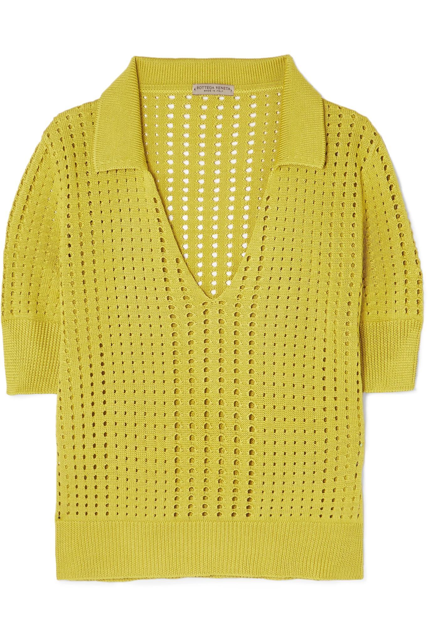 Explorer Prix Pas Cher Vente Pas Cher Abordable Silk Satin-trimmed Knitted Shirt - PeachBottega Veneta wR4yS