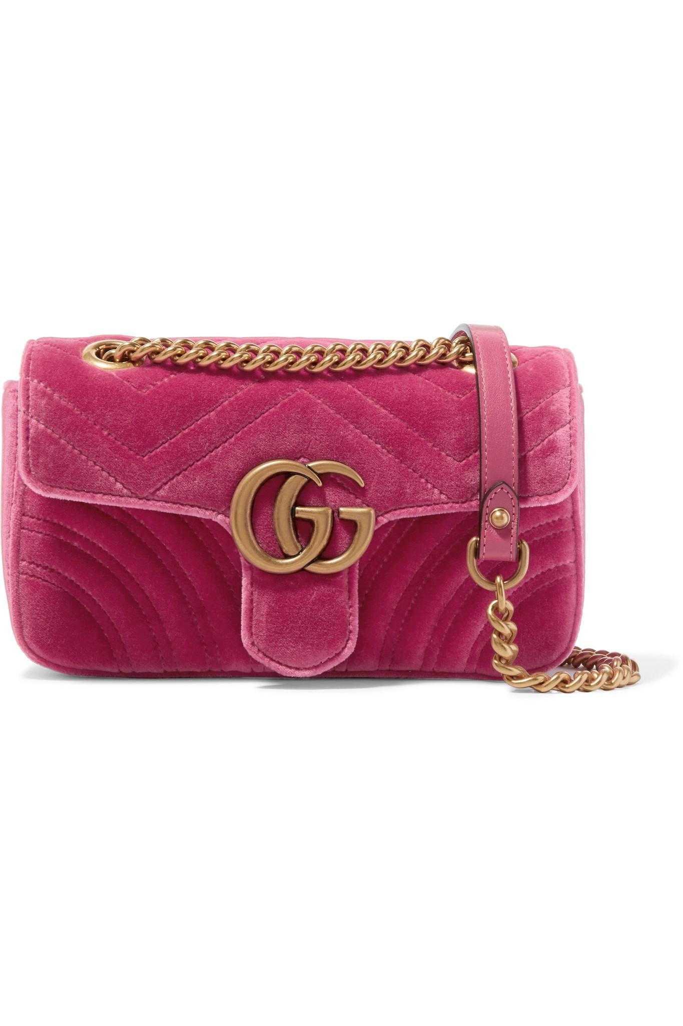 c6049e2b52c09 Gucci Gg Marmont Mini Quilted Velvet Shoulder Bag in Pink - Lyst