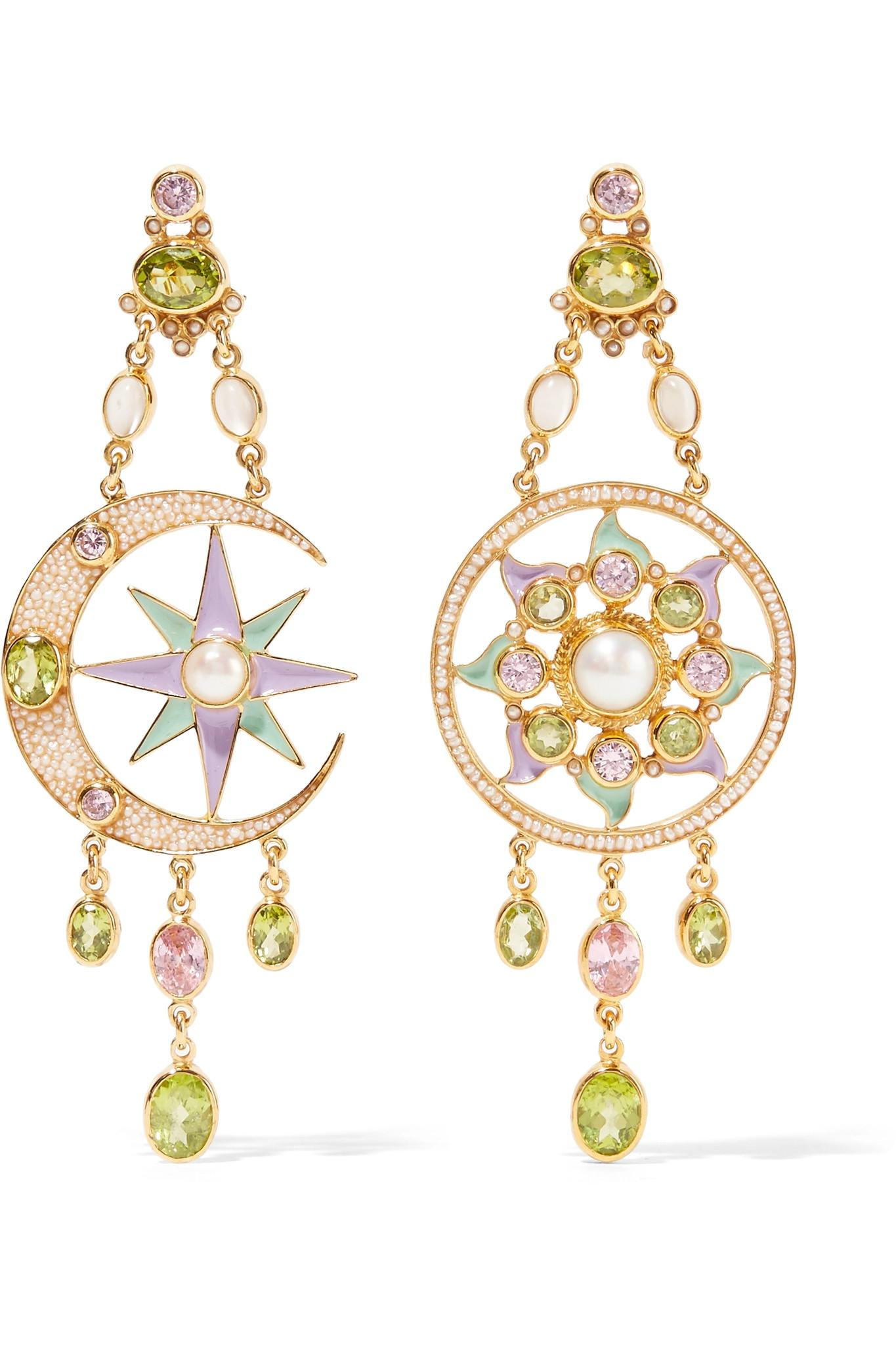 Percossi Papi Gold-plated And Enamel Multi-stone Earrings - Green Z8rYSiqPvO