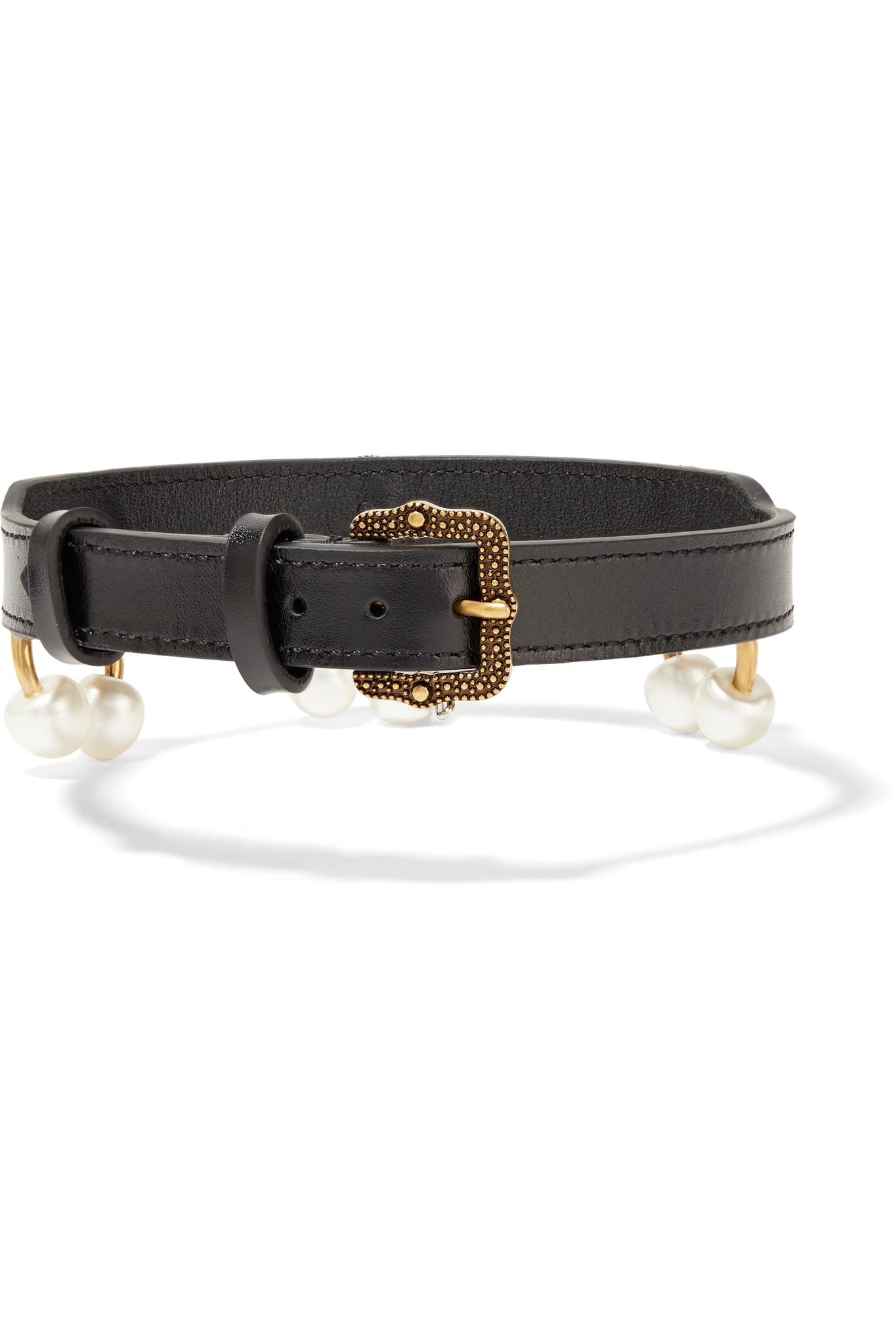 Leather, Gold-tone And Faux Pearl Choker - Black Gucci