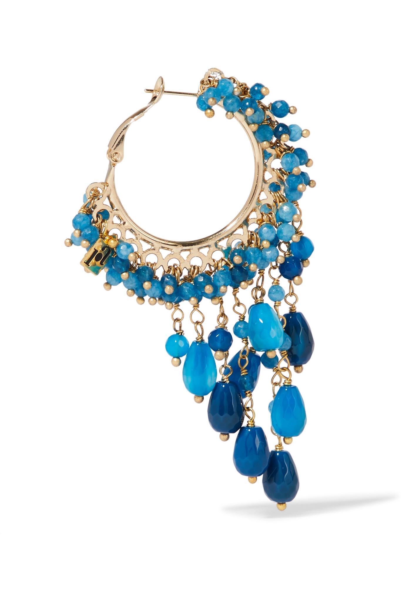 Pascoli Gold-tone Quartz Hoop Earrings - Blue Rosantica cycX6R