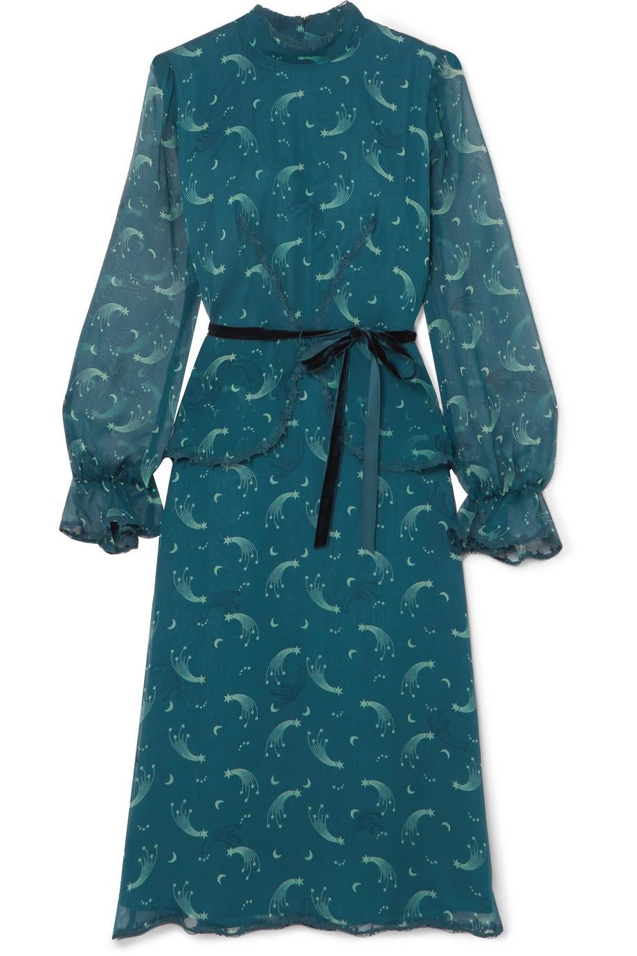 fc97850b31c4 Anna Sui Star Burst Printed Crinkled Silk-chiffon Dress in Blue - Lyst
