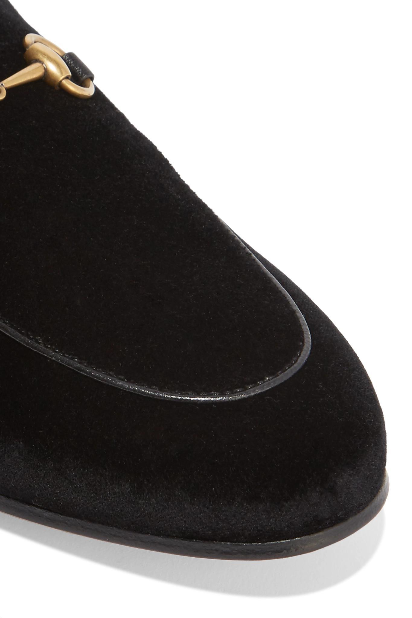 89e1a981270 ... Princetown Horsebit-detailed Shearling-lined Velvet Slippers - Lyst.  View fullscreen