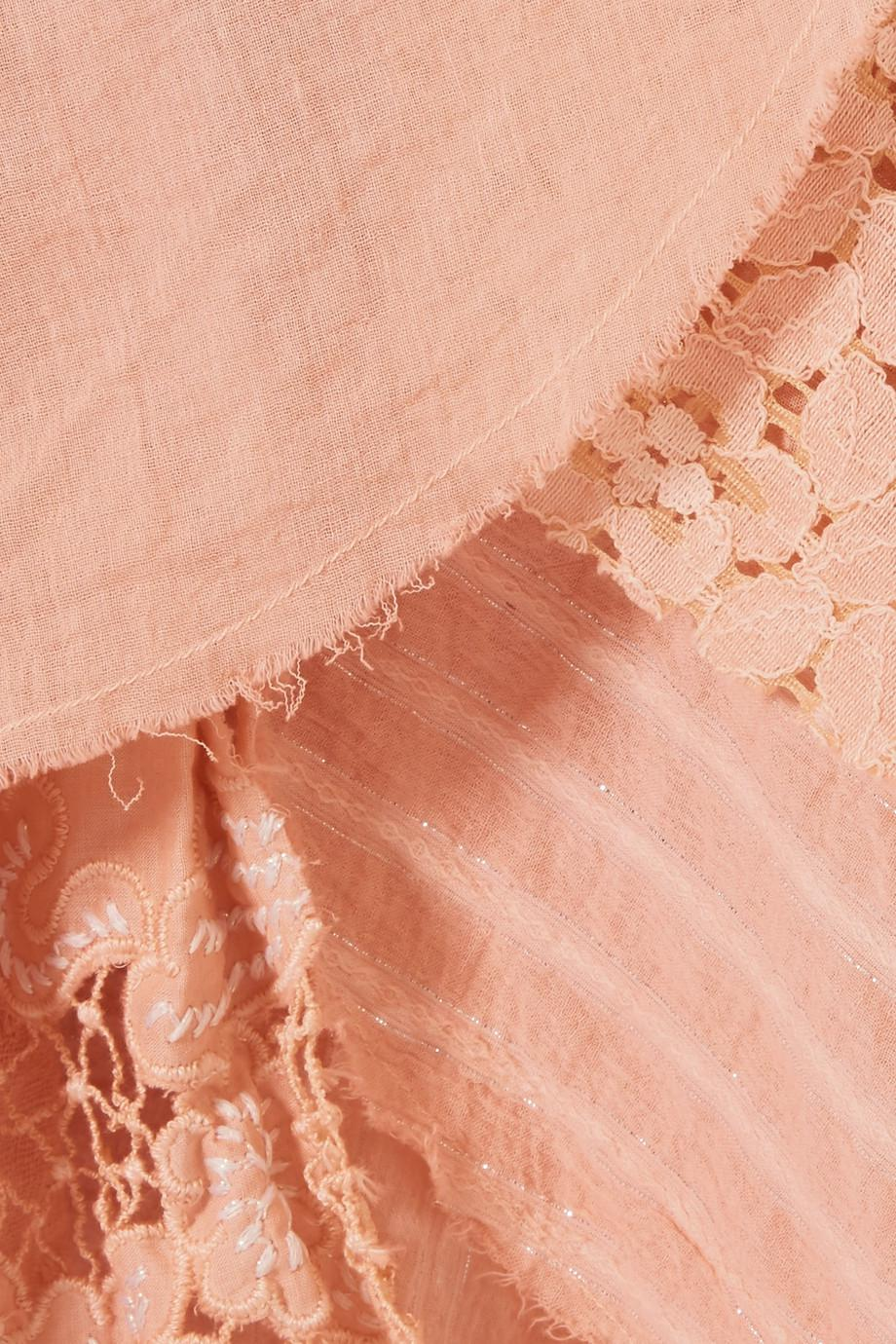 One-shoulder Ruffled Paneled Cotton-blend Jacquard Dress - Pastel pink Anjuna jP7S66pb