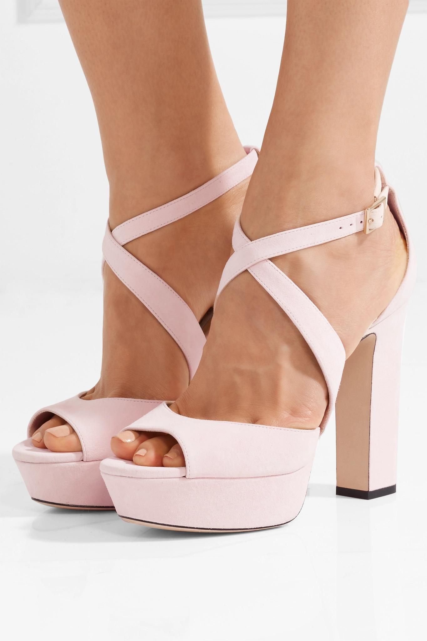 1b58cdc799e1 Jimmy Choo - Pink April 120 Suede Platform Sandals - Lyst. View fullscreen
