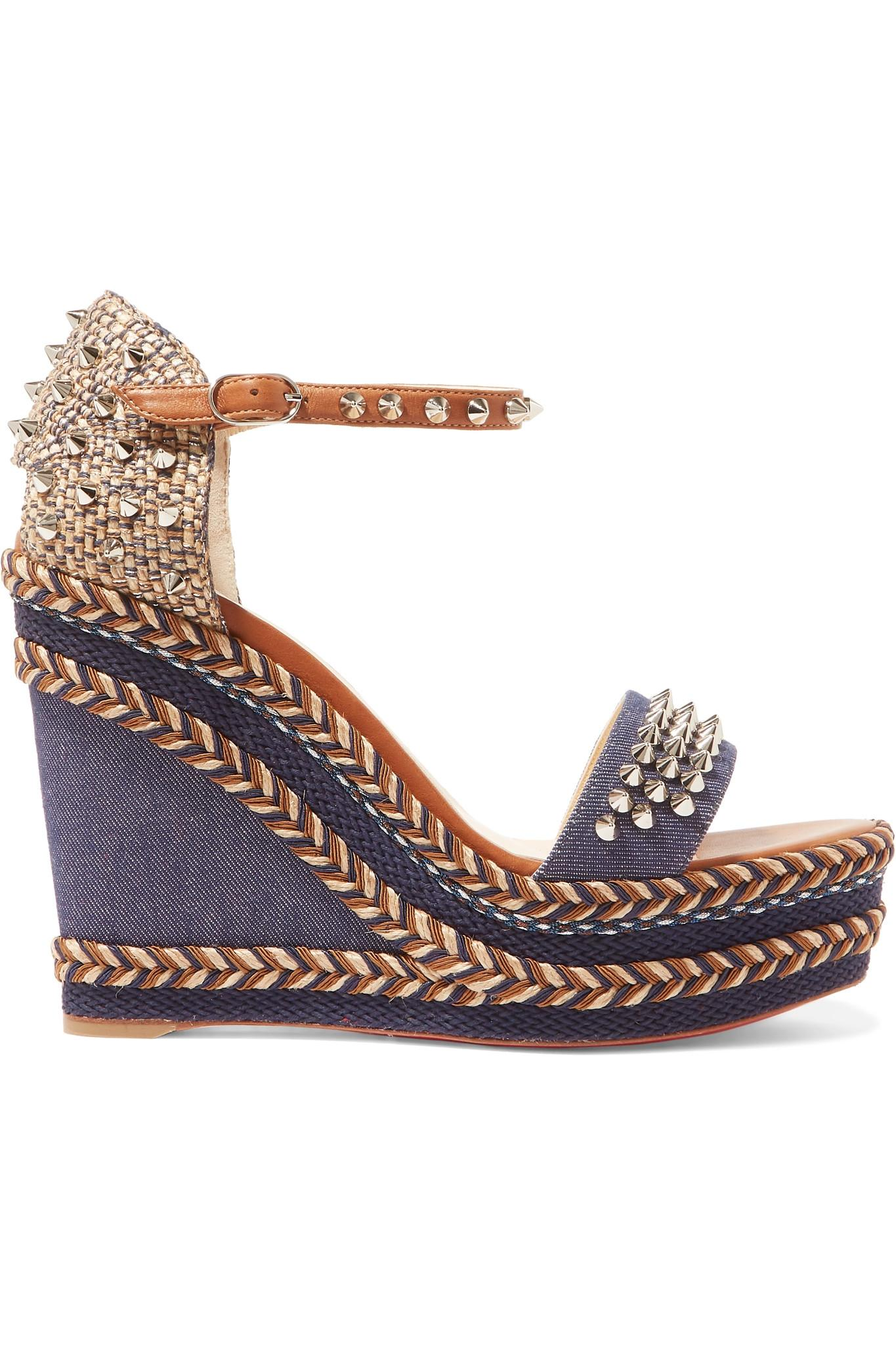 69c0d9dbdf6 Christian Louboutin. Women s Blue Madmonica 110 Spiked Denim And Leather  Espadrille Wedge Sandals