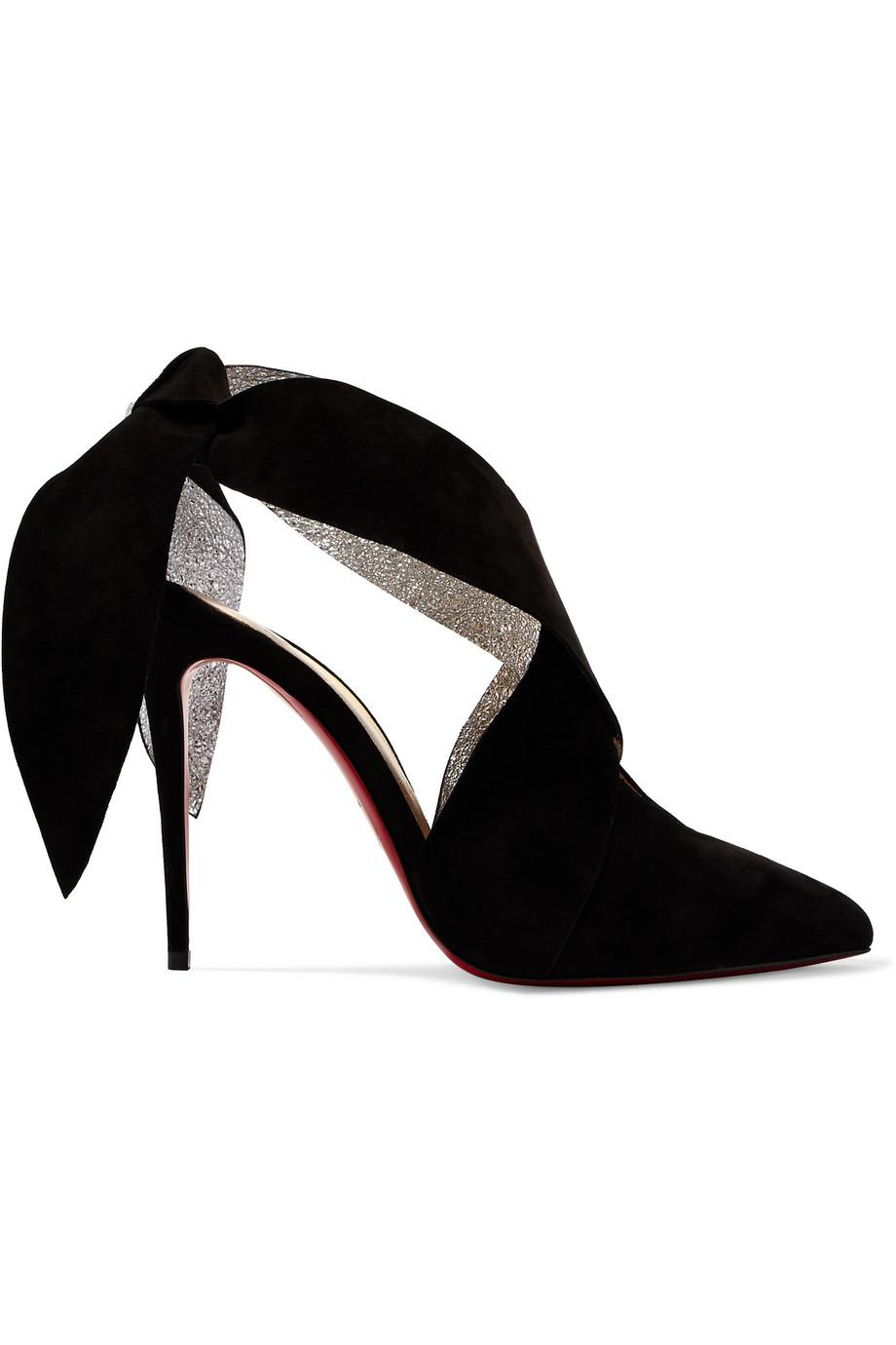 + Roland Mouret Ramour 100 Suede And Metallic Textured-leather Pumps - Black Christian Louboutin