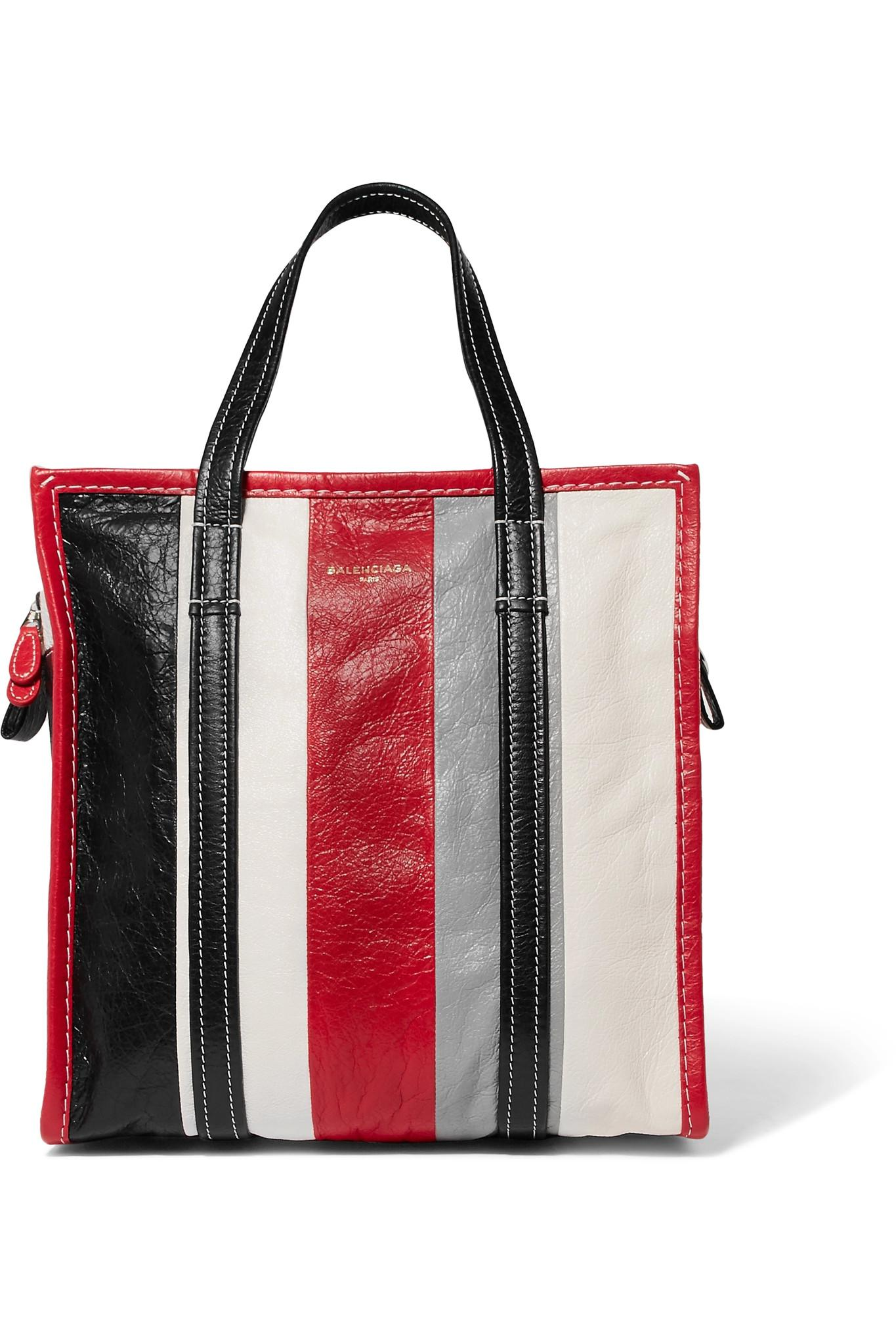 f98aab32ac0 Balenciaga Bazar Small Striped Textured-leather Tote Red One Size in ...