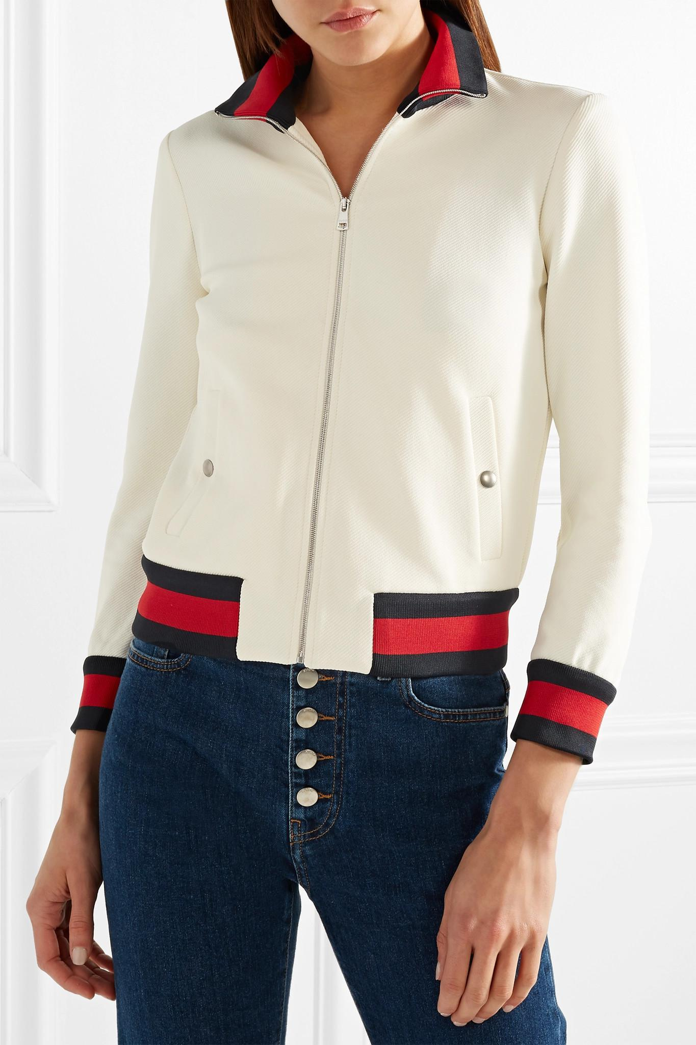 109c3a0ec Gucci Twill Bomber Jacket in White - Lyst