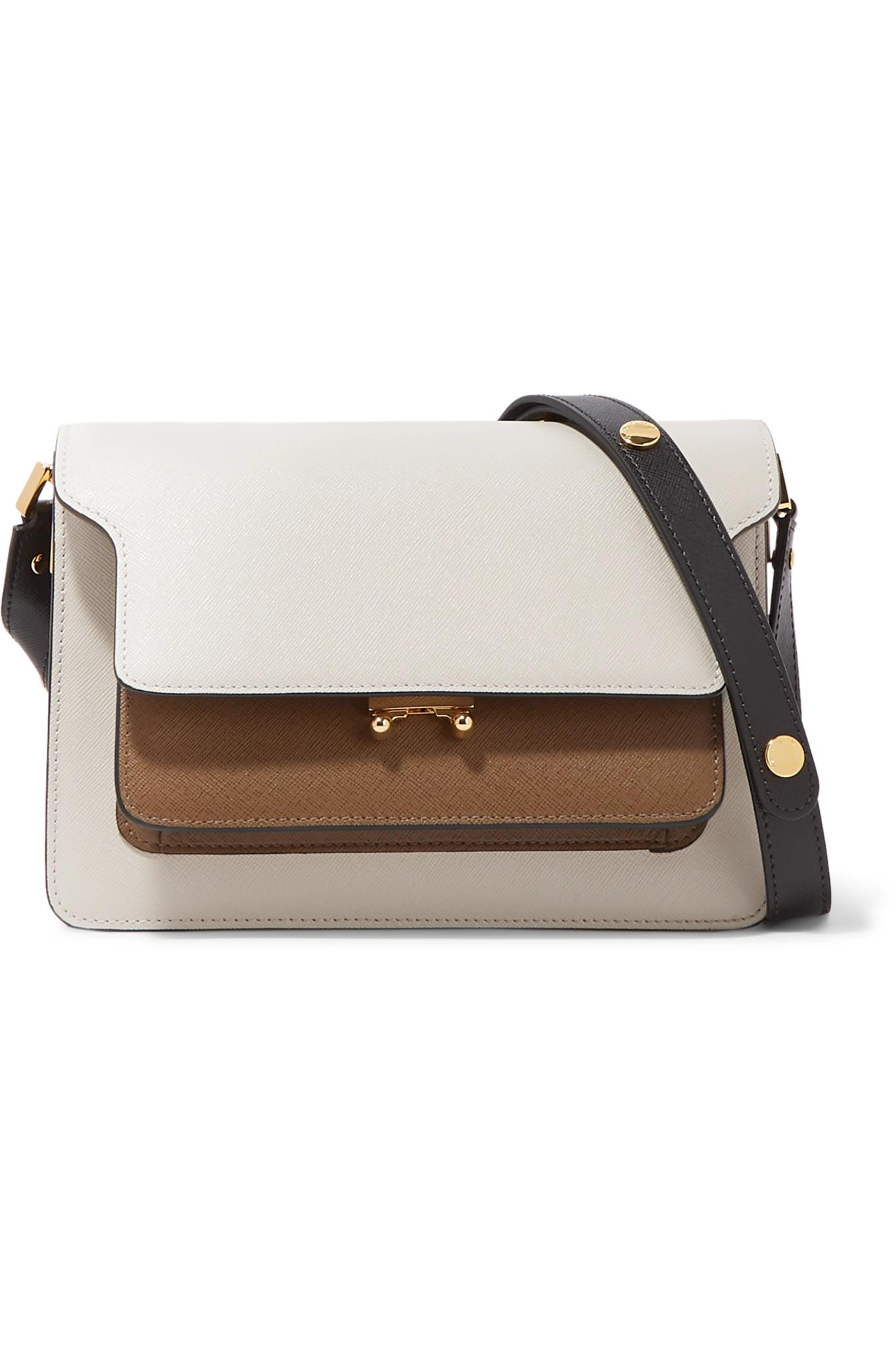 19c809b1707c Marni. Women s White Trunk Medium Color-block Textured-leather Shoulder Bag