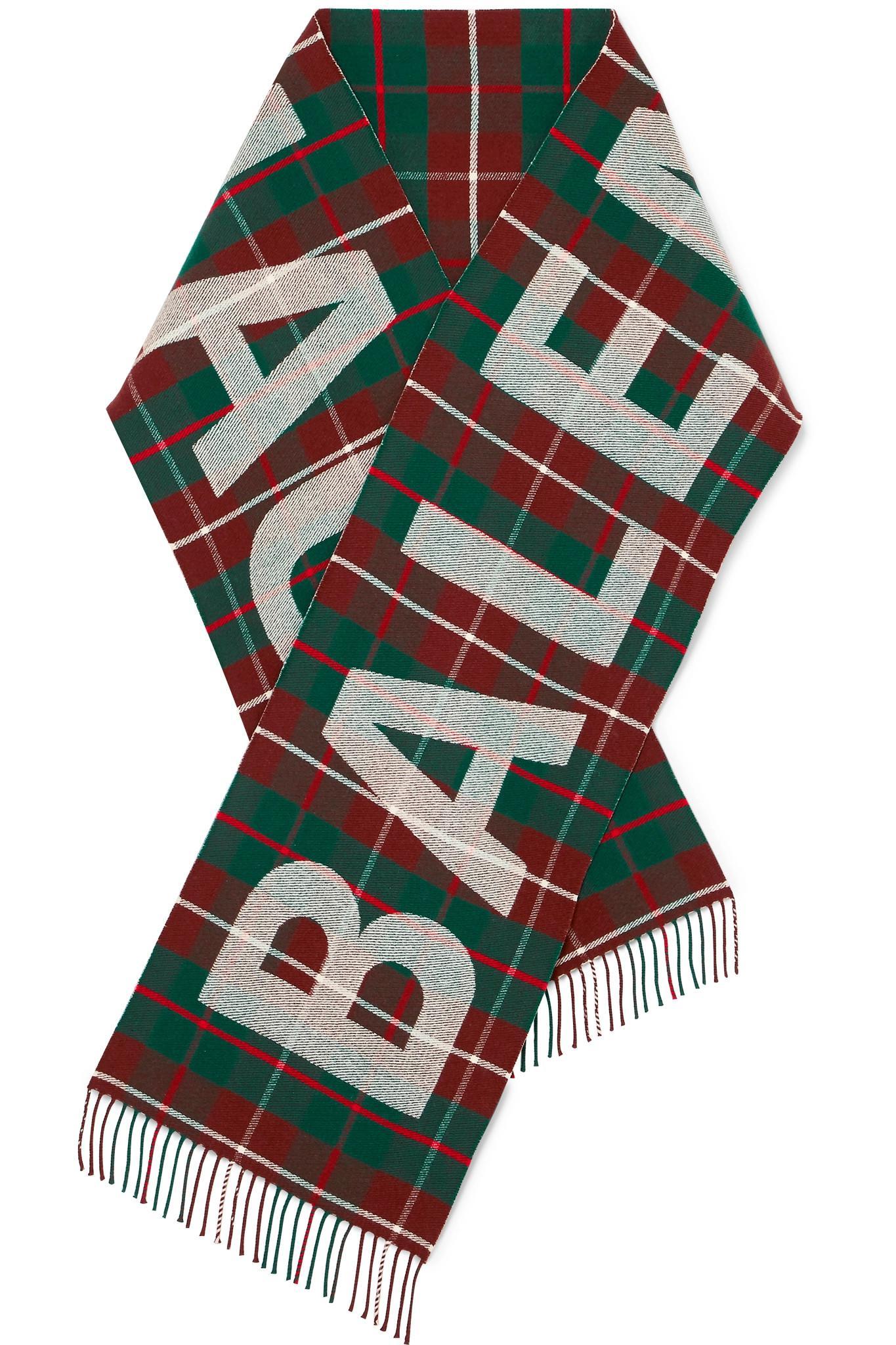 d7dfe830841 Lyst - Balenciaga Tartan Intarsia Wool Scarf in Green