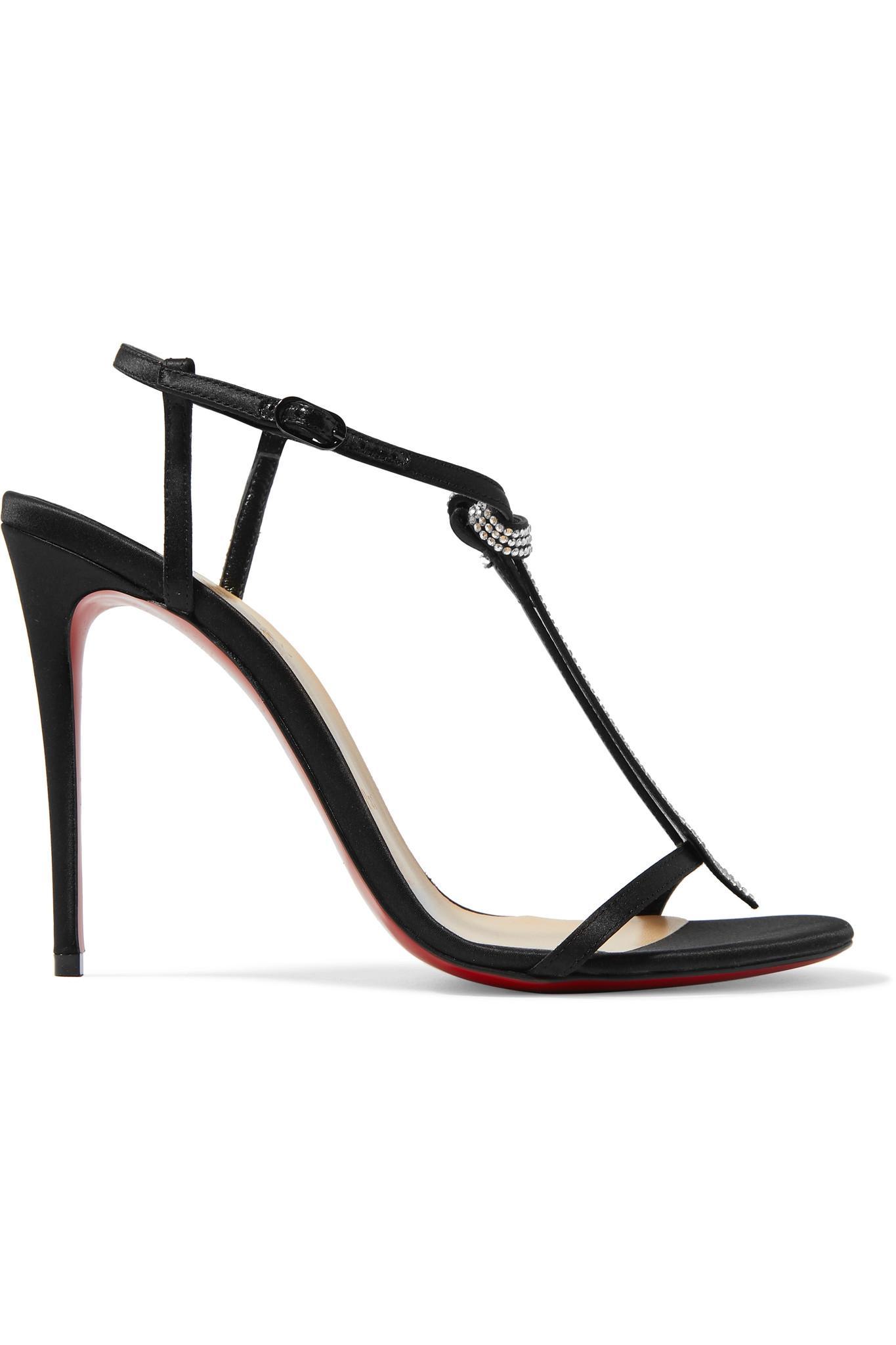 3a04cccf03d Christian Louboutin. Women s Black T Cab 100 Crystal-embellished Satin  Sandals