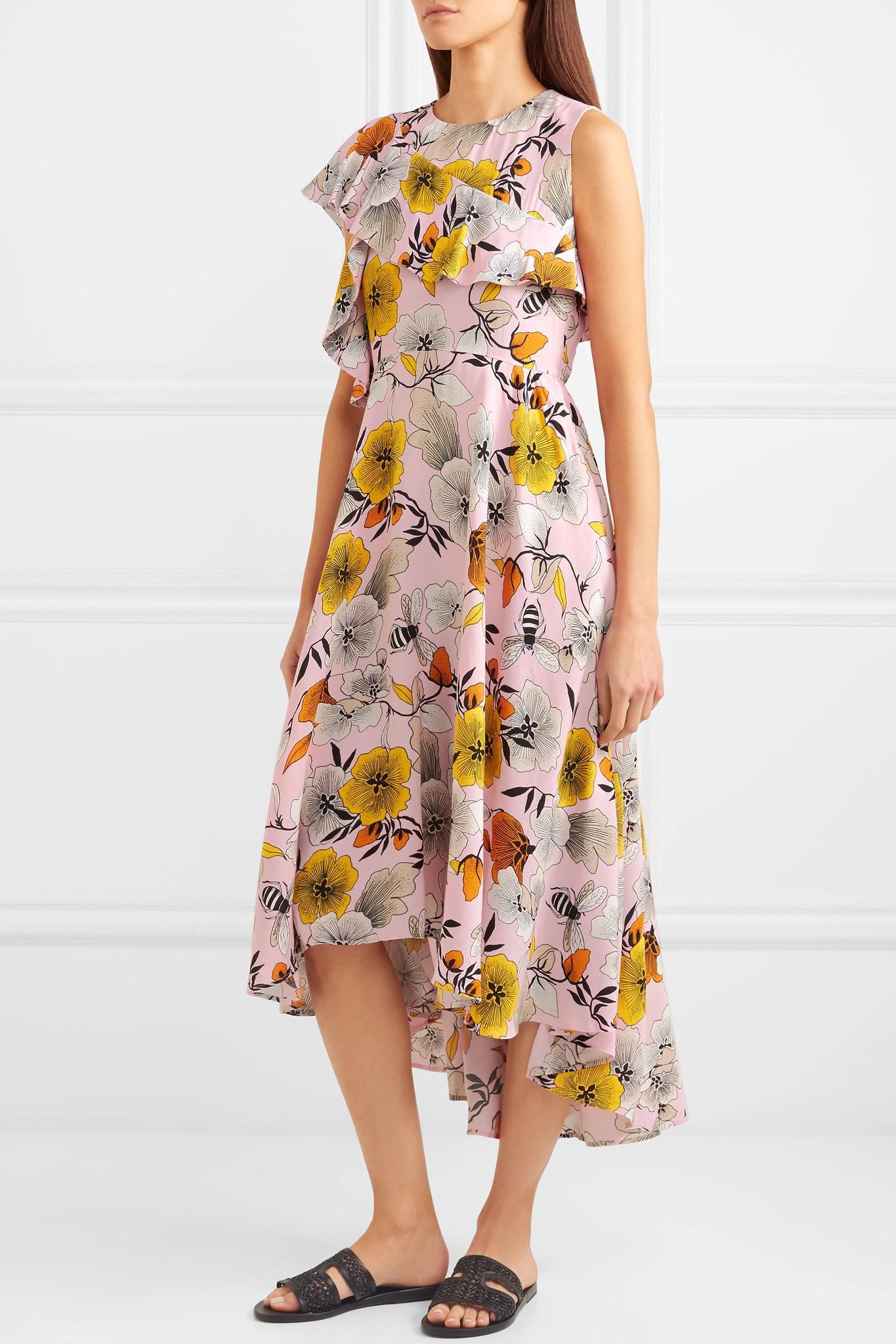One-shoulder Floral-print Crepe Midi Dress - Pink Maje It3HCZ2h
