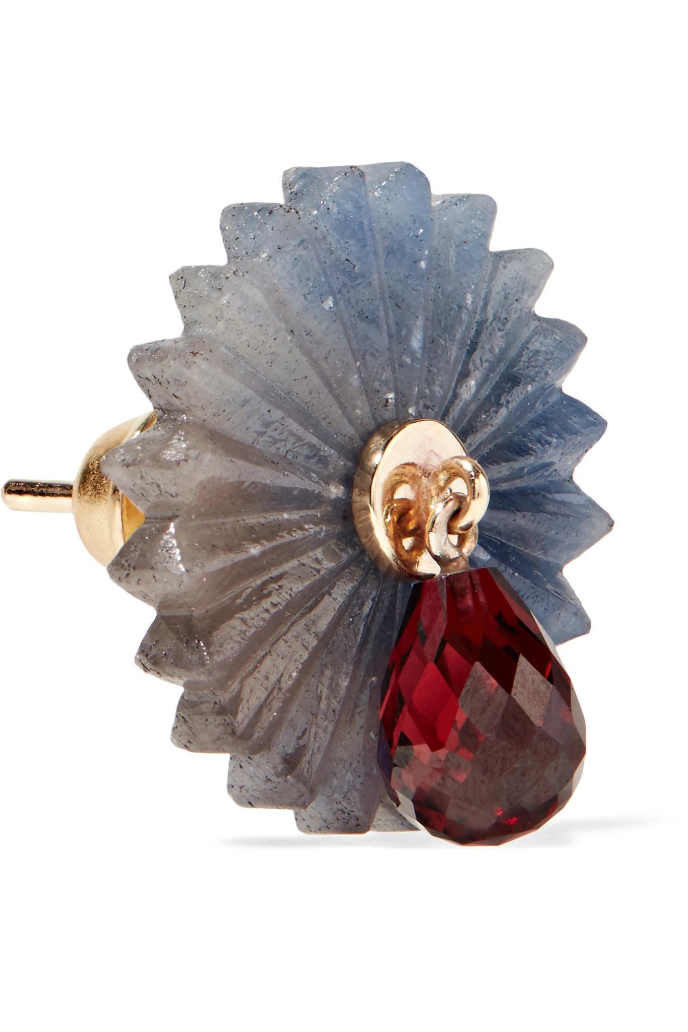 Alice Cicolini Summer Snow 9-karat Gold, Sapphire And Garnet Earrings