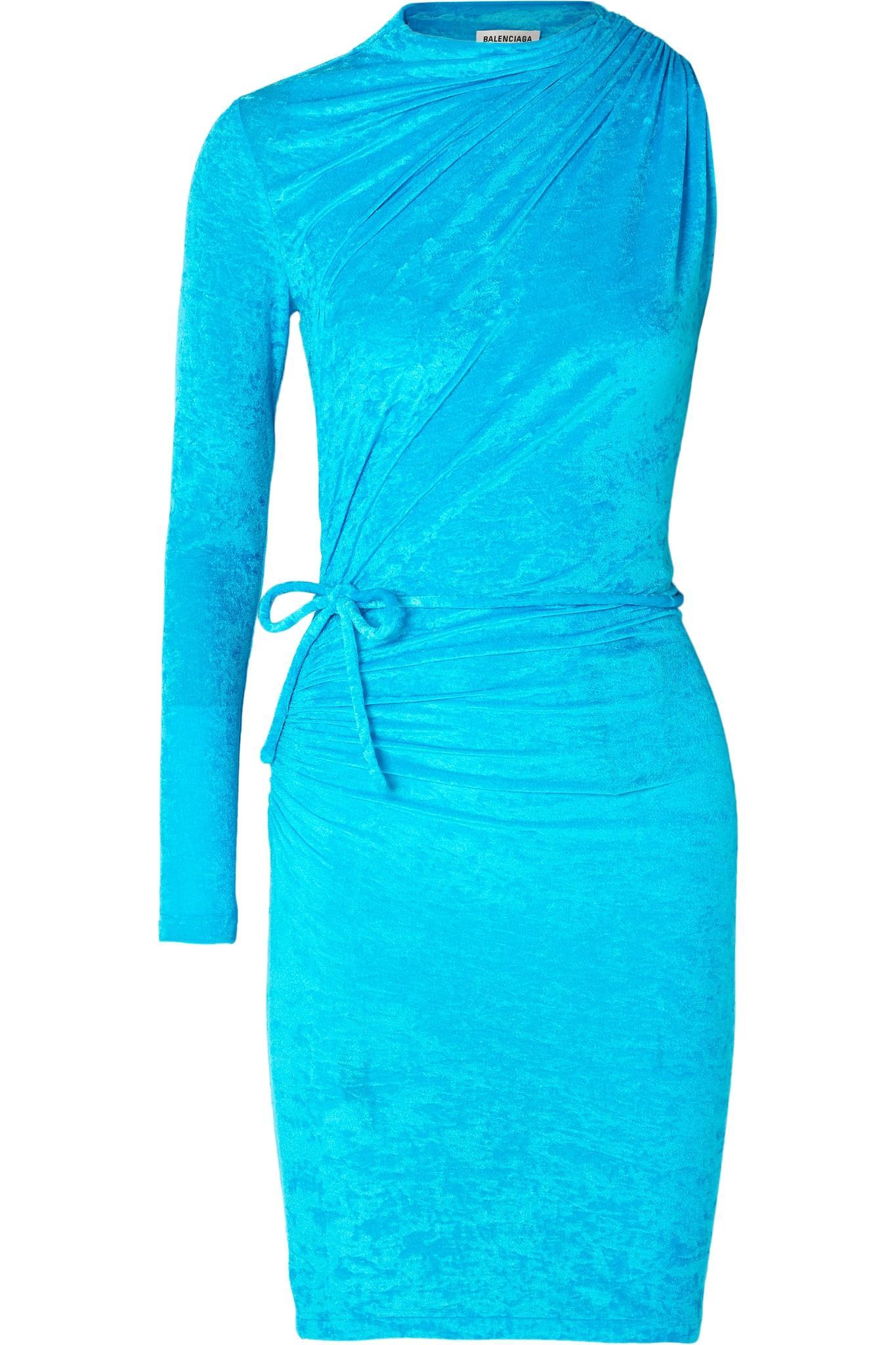 7b41c0f55c9 Balenciaga - Blue Draped Mini Dress - Lyst. View fullscreen