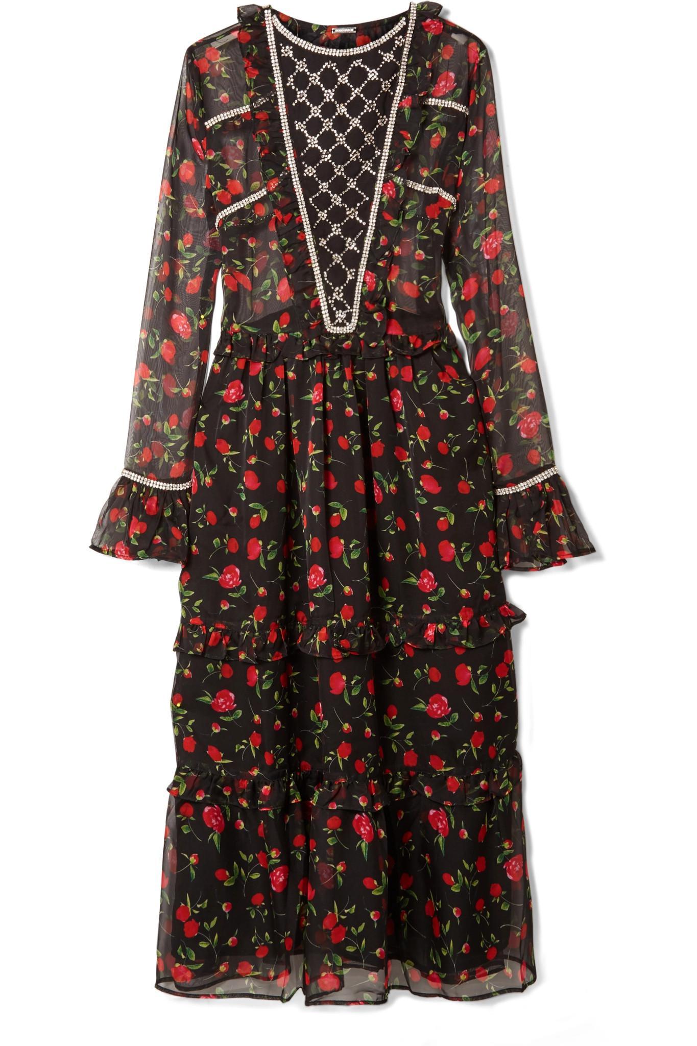 Crystal-embellished Ruffled Floral-print Chiffon Midi Dress - Black Dodo Bar Or Kj61uE9