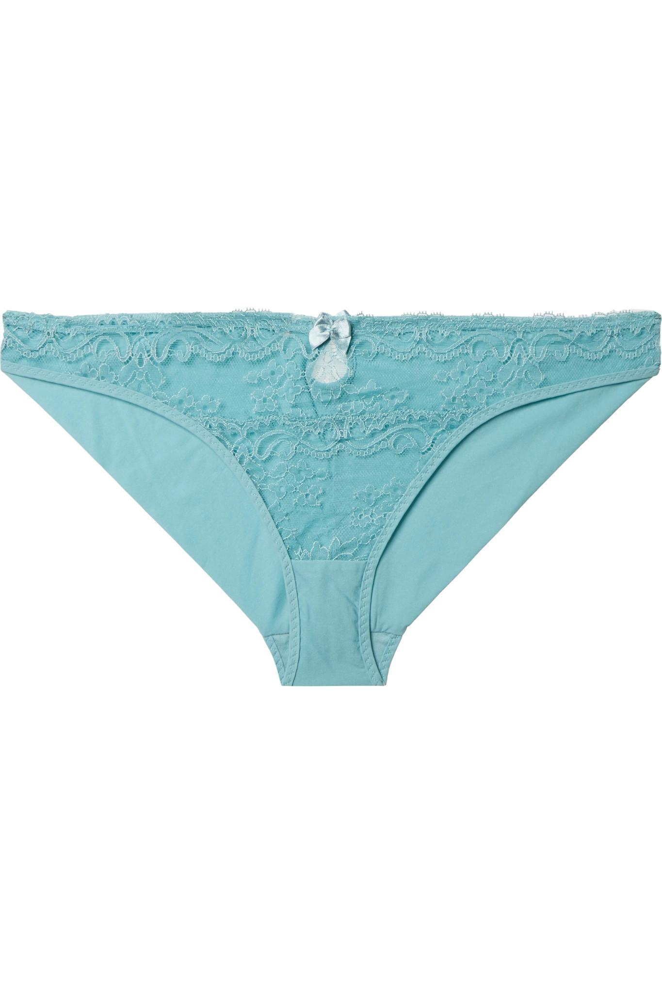 Poppy Playing Cutout Stretch-jersey And Leavers Lace Briefs - Blue Stella McCartney Free Shipping Really Under 70 Dollars Discount Limited Edition Outlet Eastbay Cheap With Mastercard yhZyl7